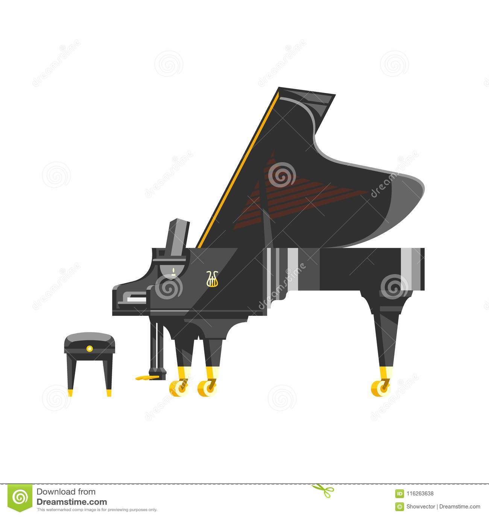 Van de het instrumenten klassieke musicus van de toetsenbordpiano muzikale het materiaal vectorillustratie