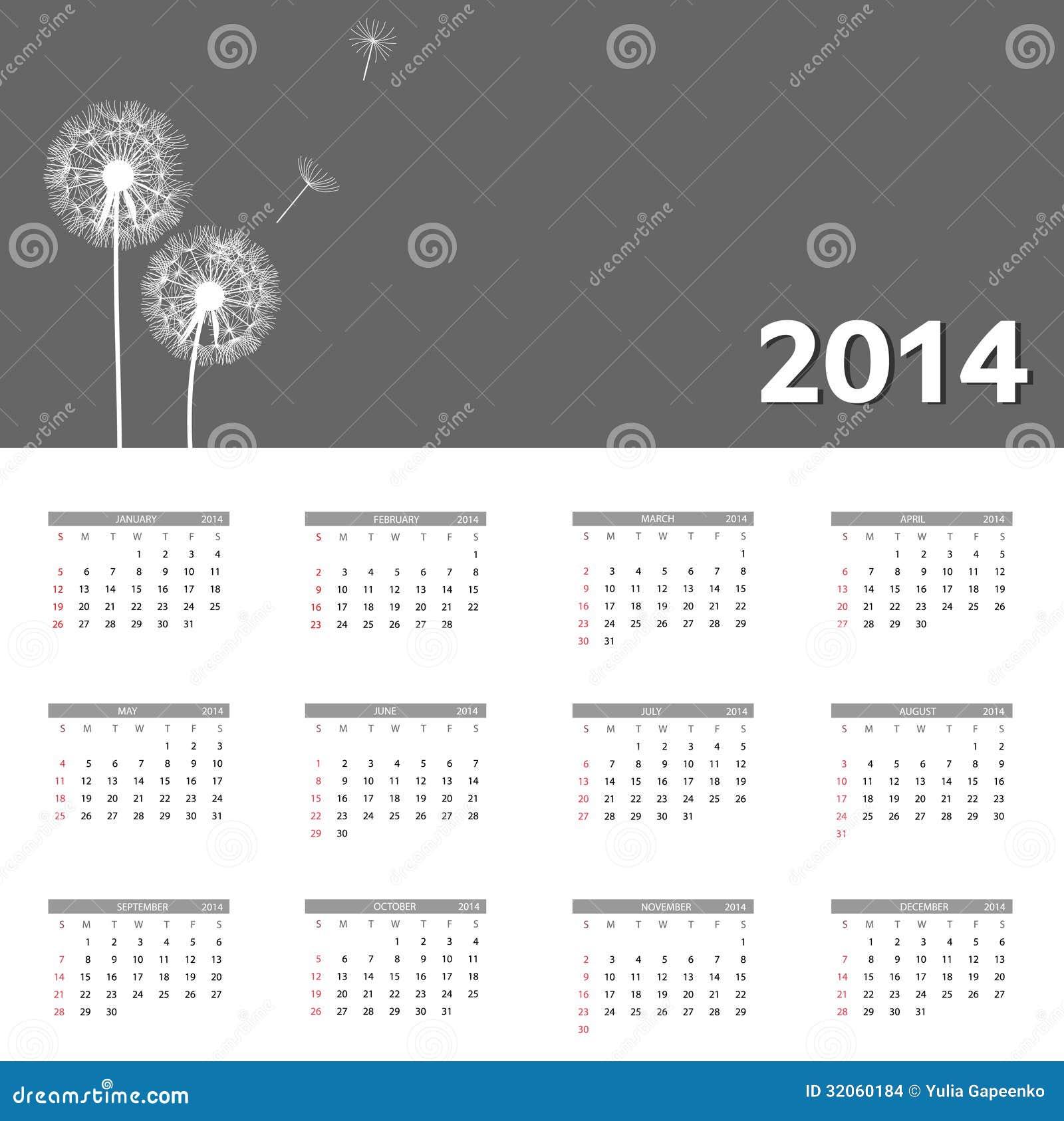 Van de het jaarkalender van 2014 de nieuwe vectorillustratie