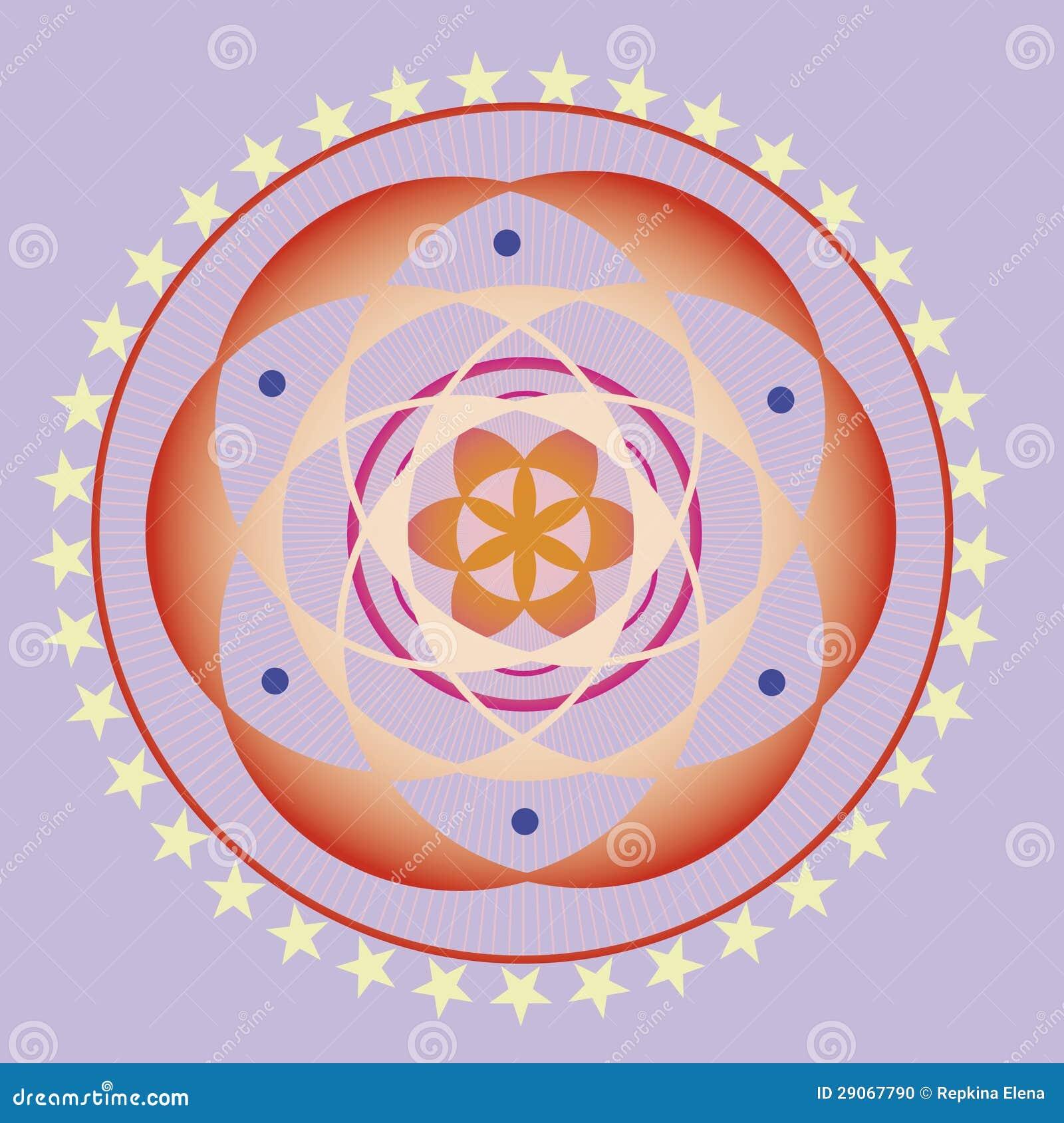 van de het levensbloem van de lente het zaadmandala 29067790 - Mandala Behang