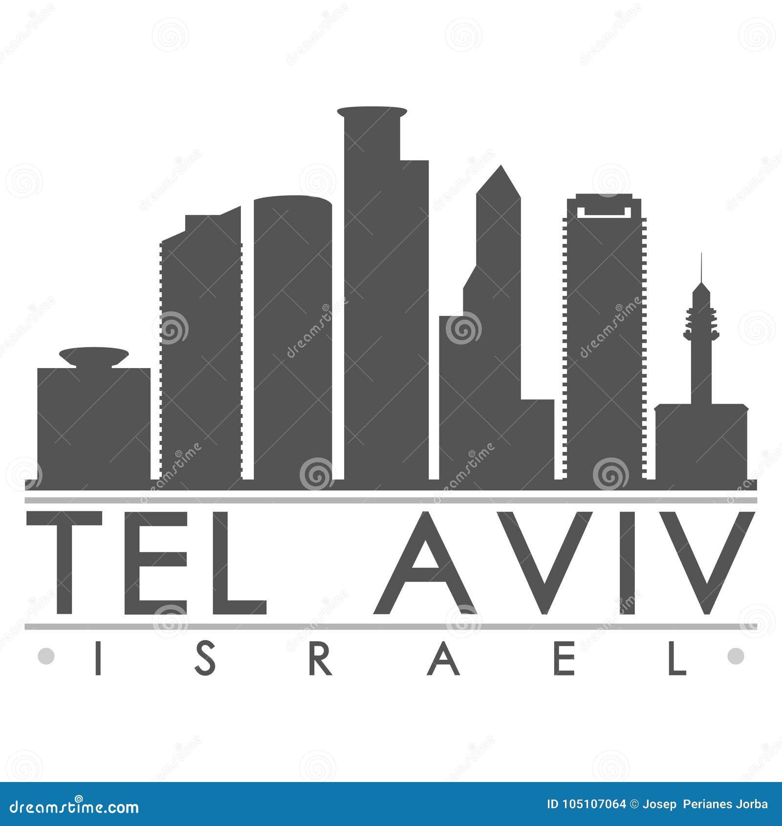 Van de het Ontwerphorizon van tel. Aviv Israel Asia Icon Vector Art van het de Stadssilhouet het Vlakke Malplaatje van Editable