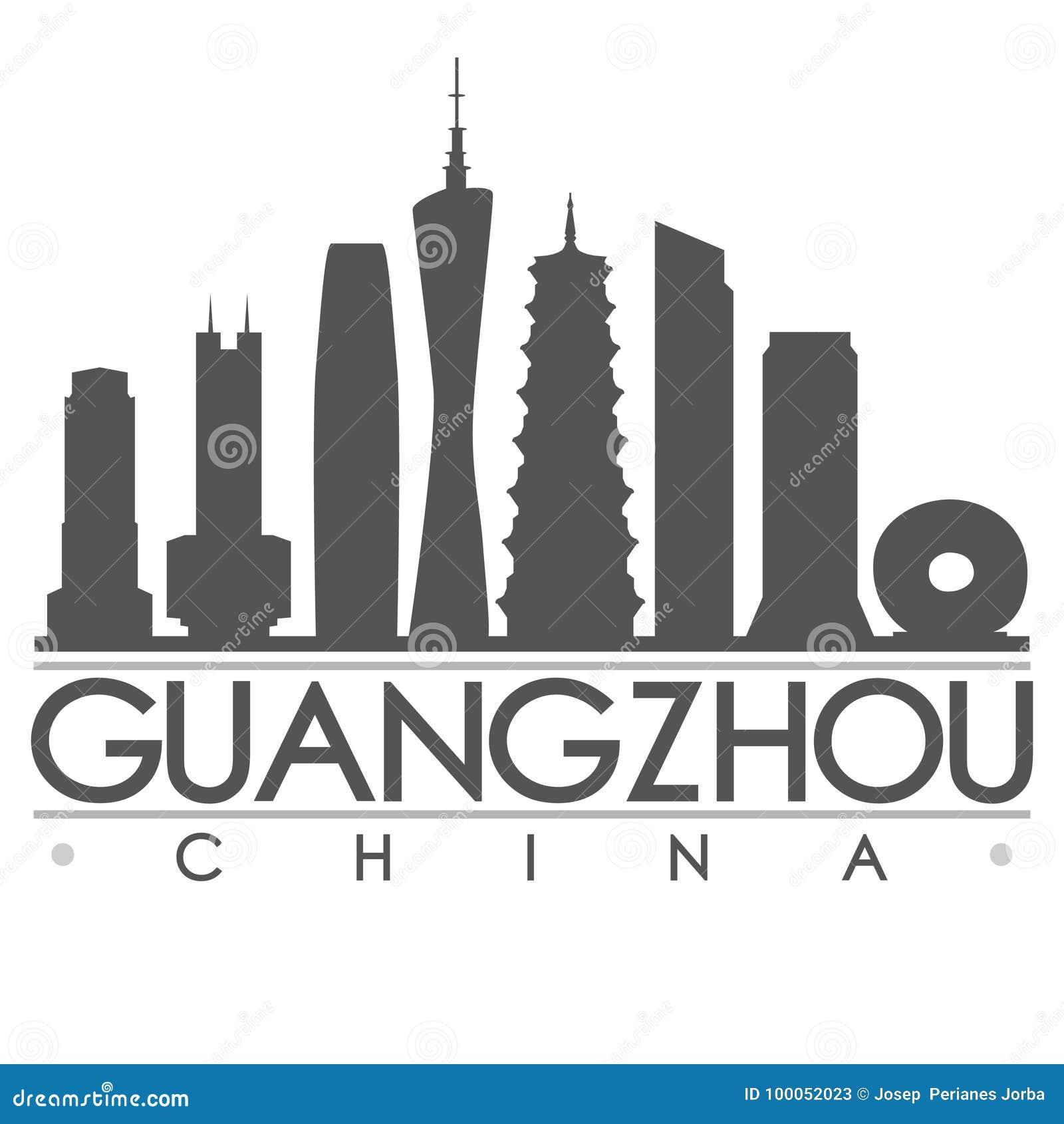 Van de het Ontwerpstad van het Guangzhousilhouet het Vectorart.