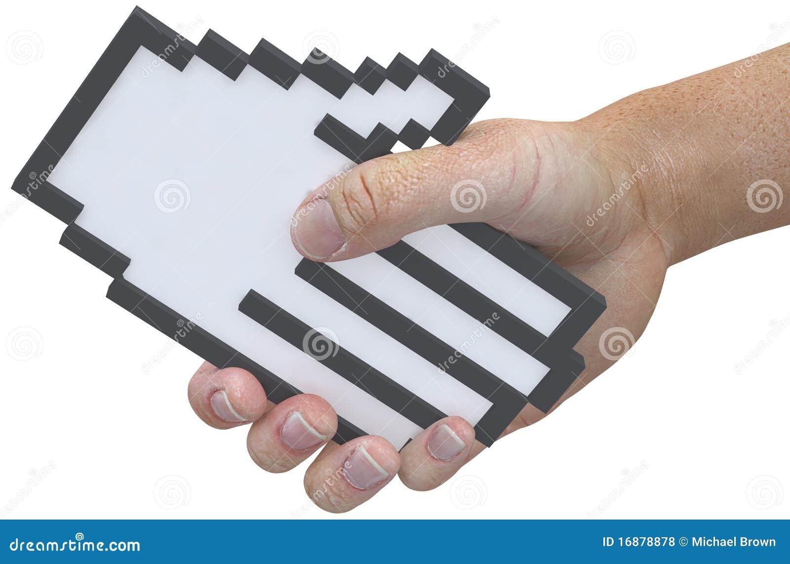 Van de het pixelcurseur van de handdruk van de technologiegebruiker de schokhanden