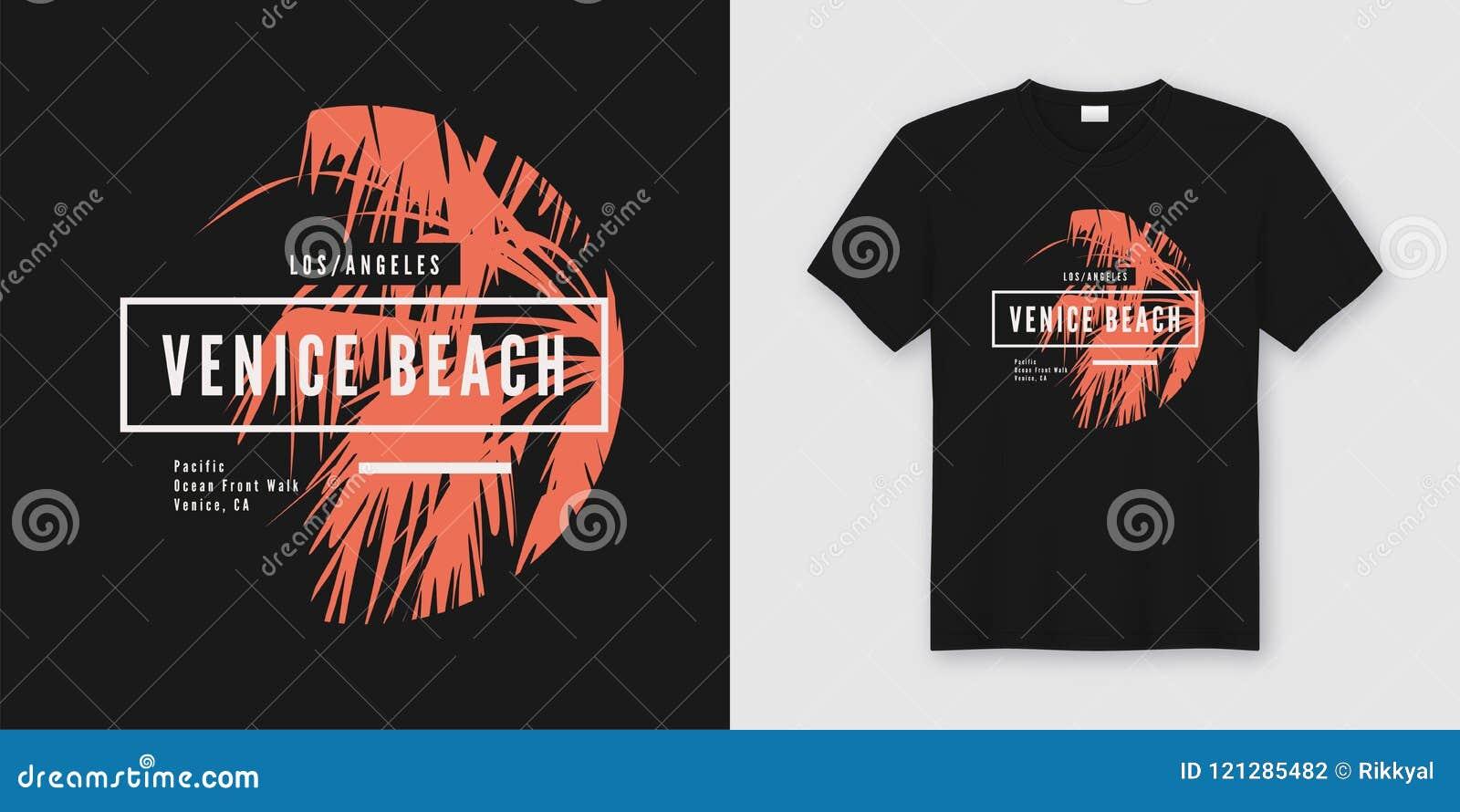 Van de het strandt-shirt en kleding van Venetië in ontwerp met palmsi