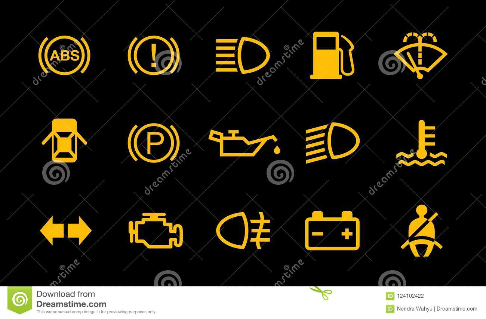 Van de het Tekenindicator van het autodashboard het Systeemsymbolen