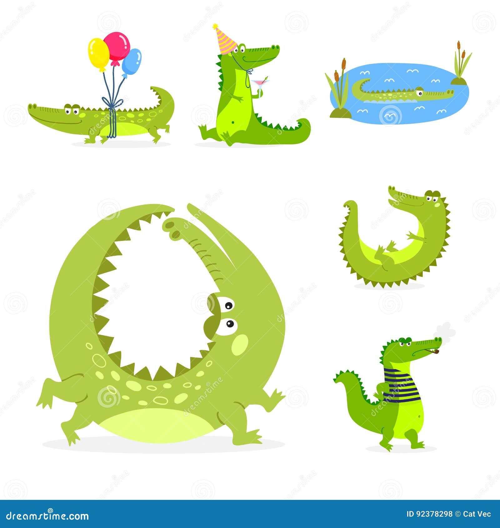 Van de het wildrivier van de beeldverhaal de groene krokodil grappige roofdier Australische reptiel krokodille vlakke vectorillus