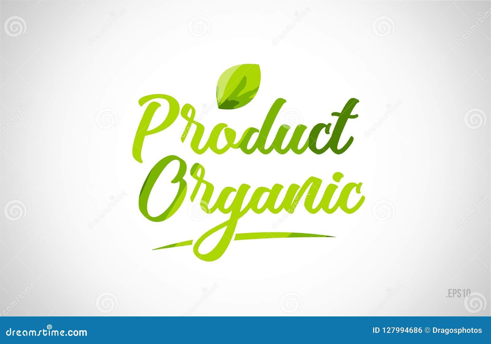 Van de het woordtekst van het biologisch product de groene blad typografie van het het embleempictogram