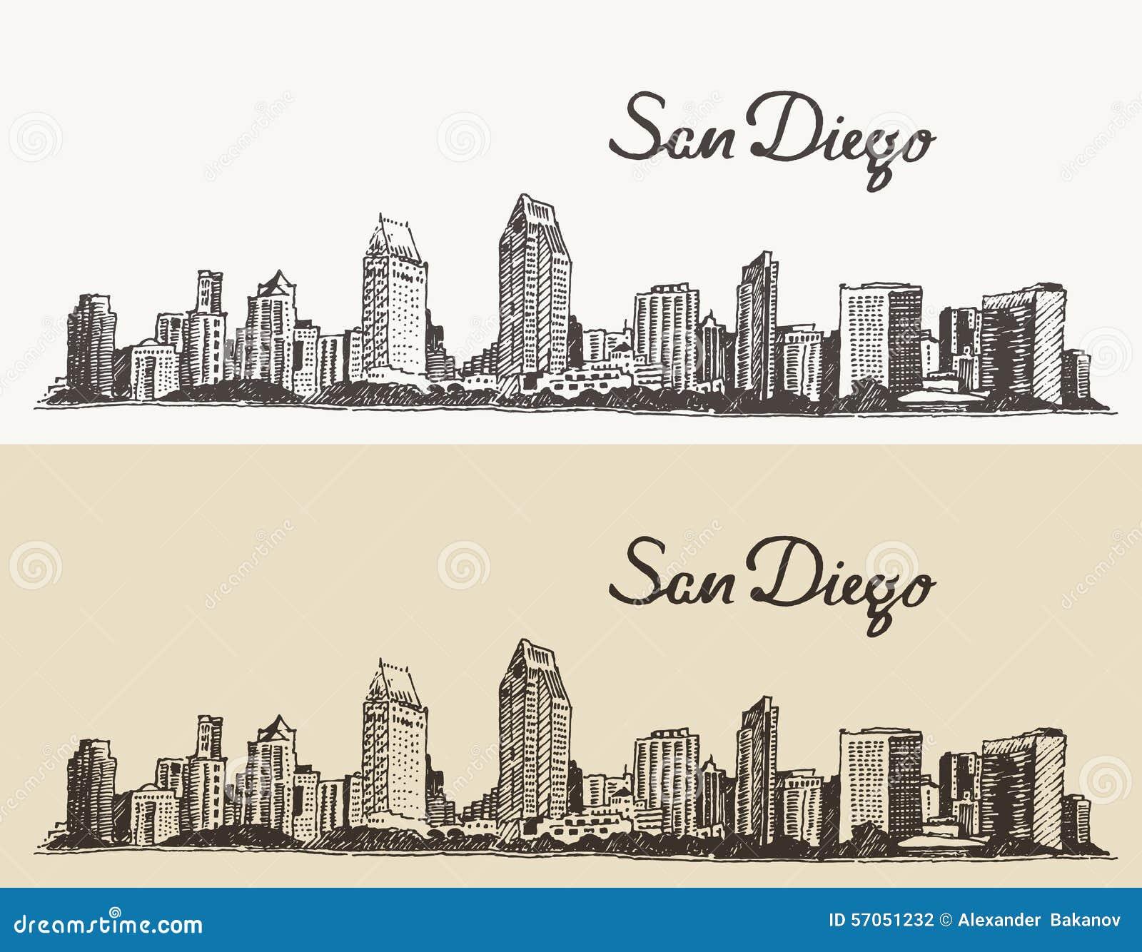Van de horizonevector van San Diego de getrokken schets hand