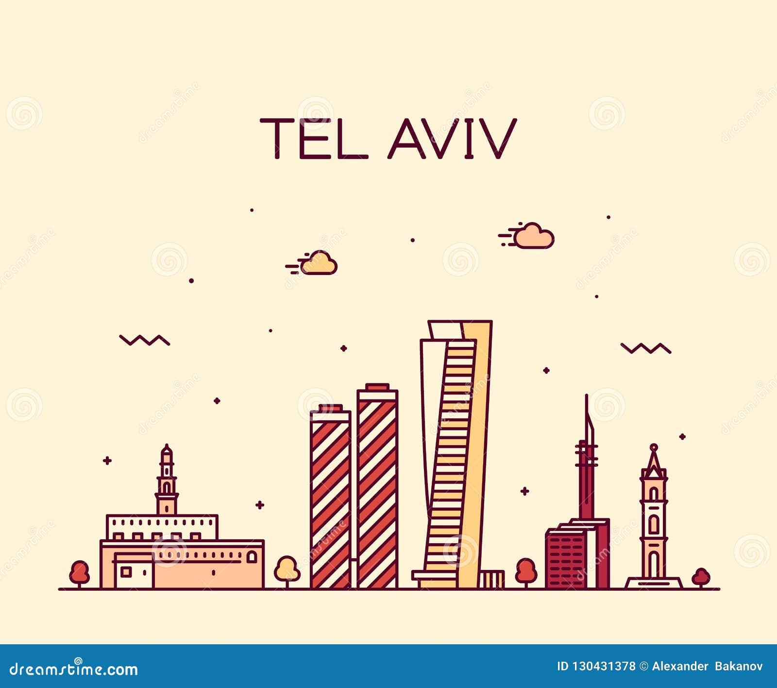 Van de horizonisraël van Tel Aviv de vector lineaire stijl