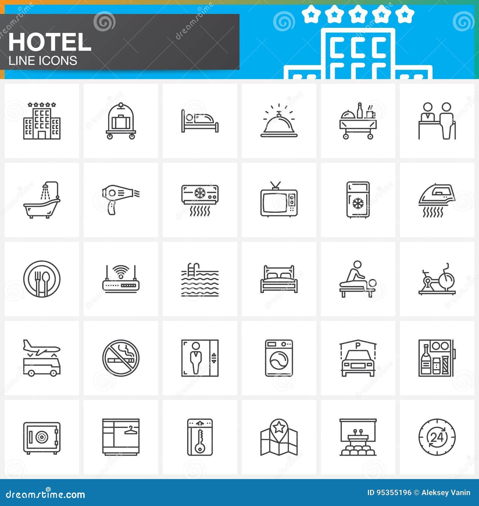 Van de hoteldiensten en faciliteiten geplaatste lijn de pictogrammen, schetsen vectorsymboolinzameling, lineair pictogrampak Teke