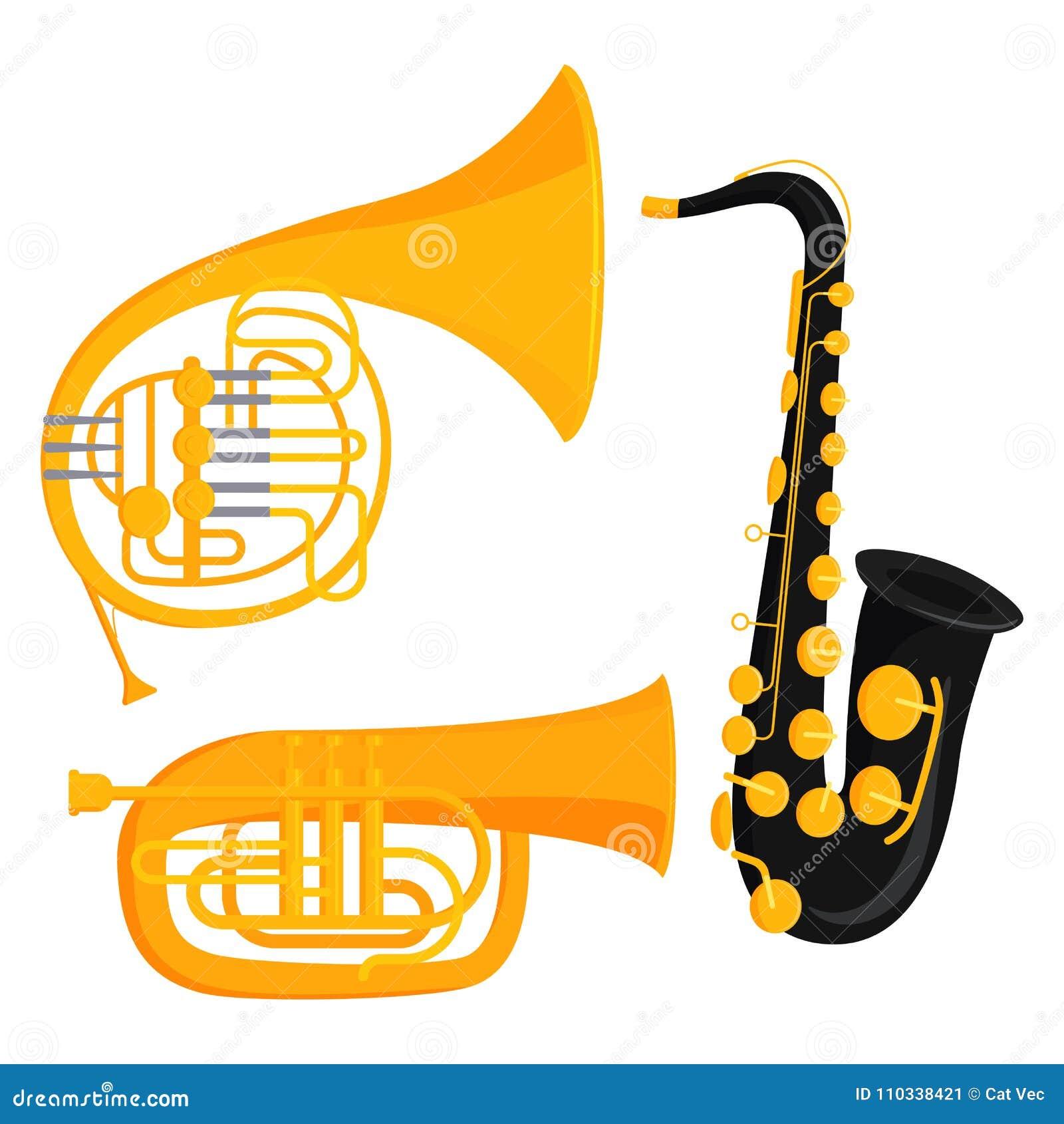 Van de de hulpmiddelen akoestische musicus van wind de muzikale instrumenten van het het materiaalorkest vectorillustratie