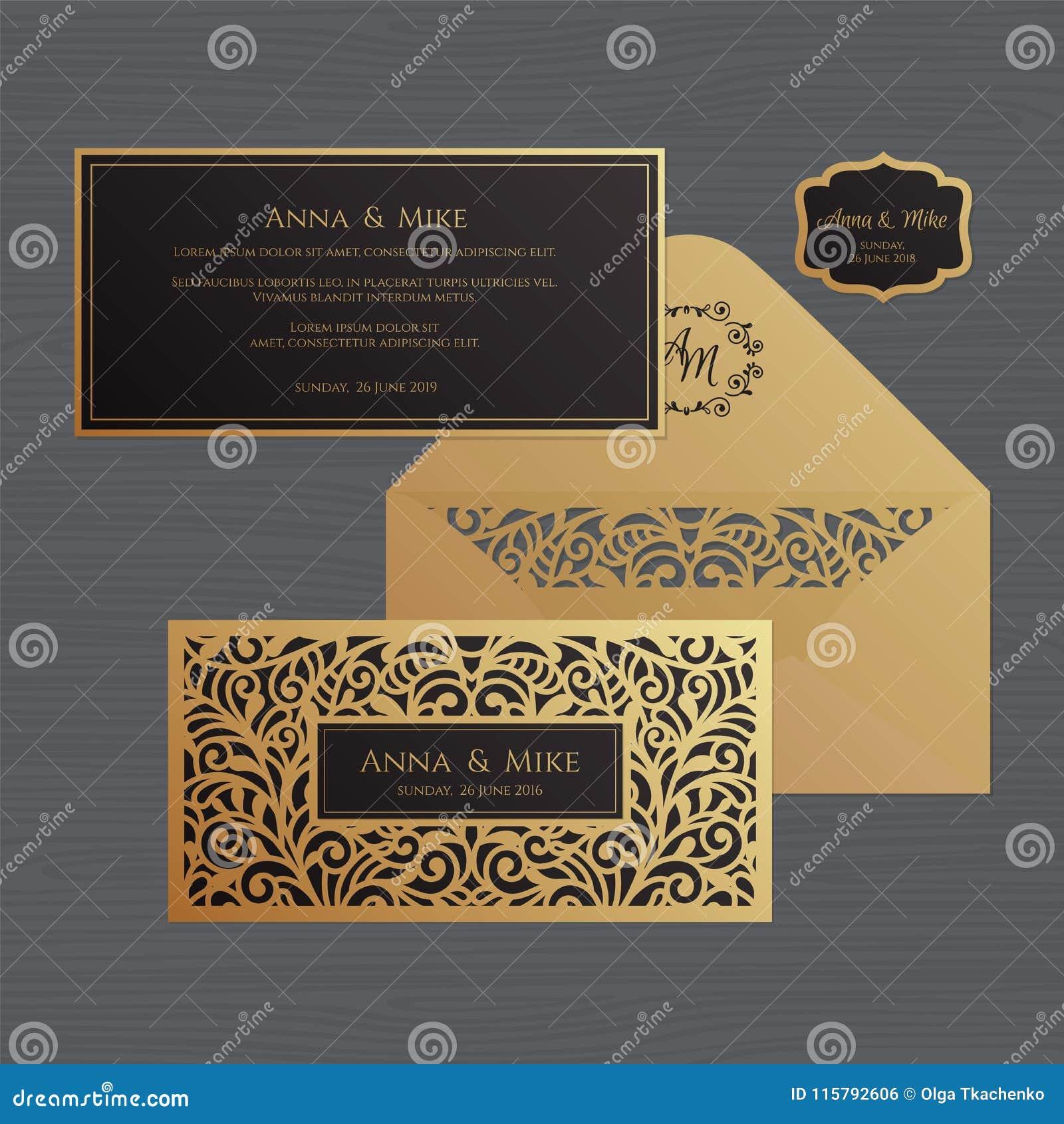 Van de huwelijksuitnodiging of groet kaart met uitstekend ornament Document
