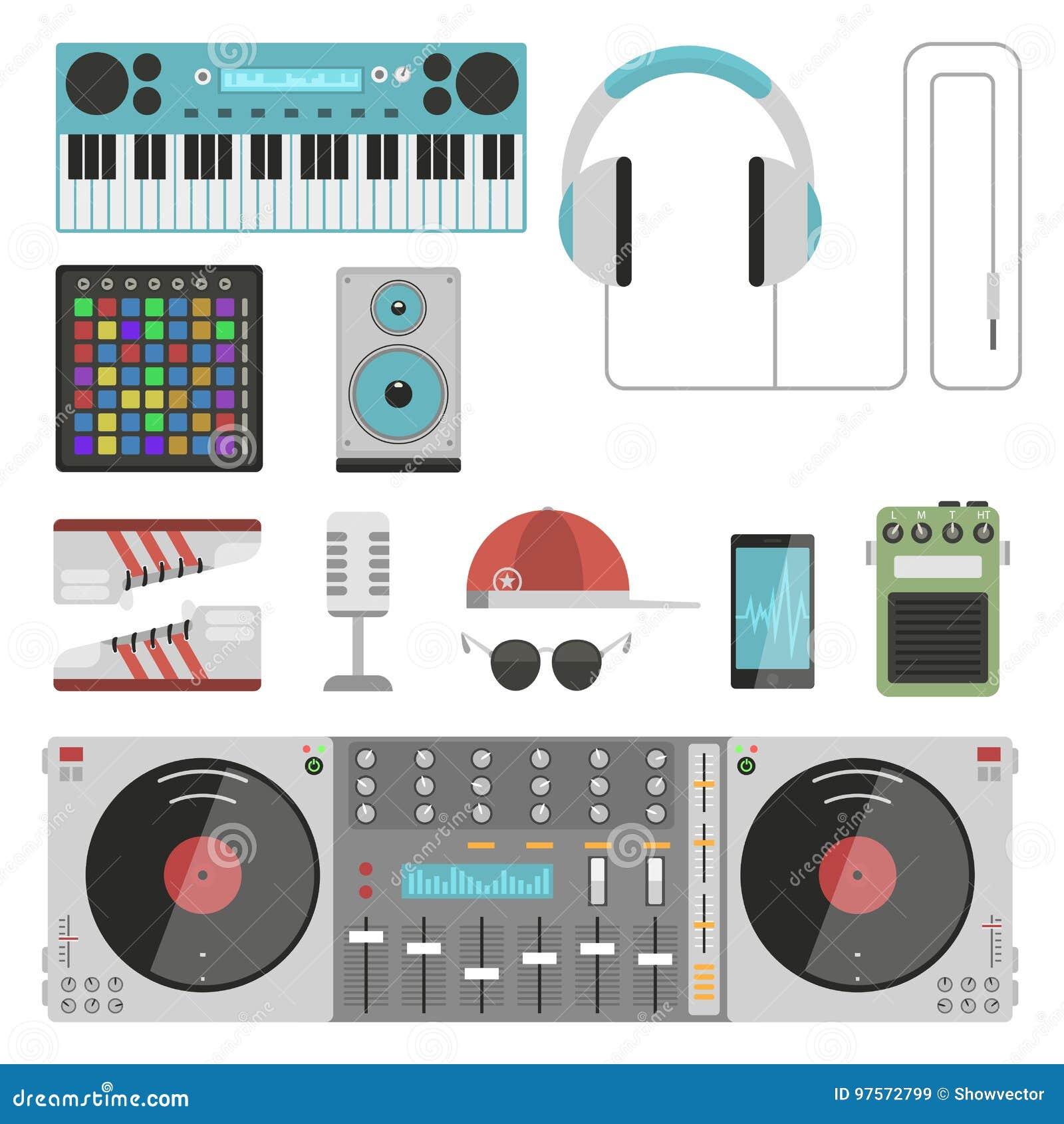 Van de instrumentenbreakdance van de hiphop de bijkomende musicus van de de tikmuziek expressieve vectorillustratie van DJ