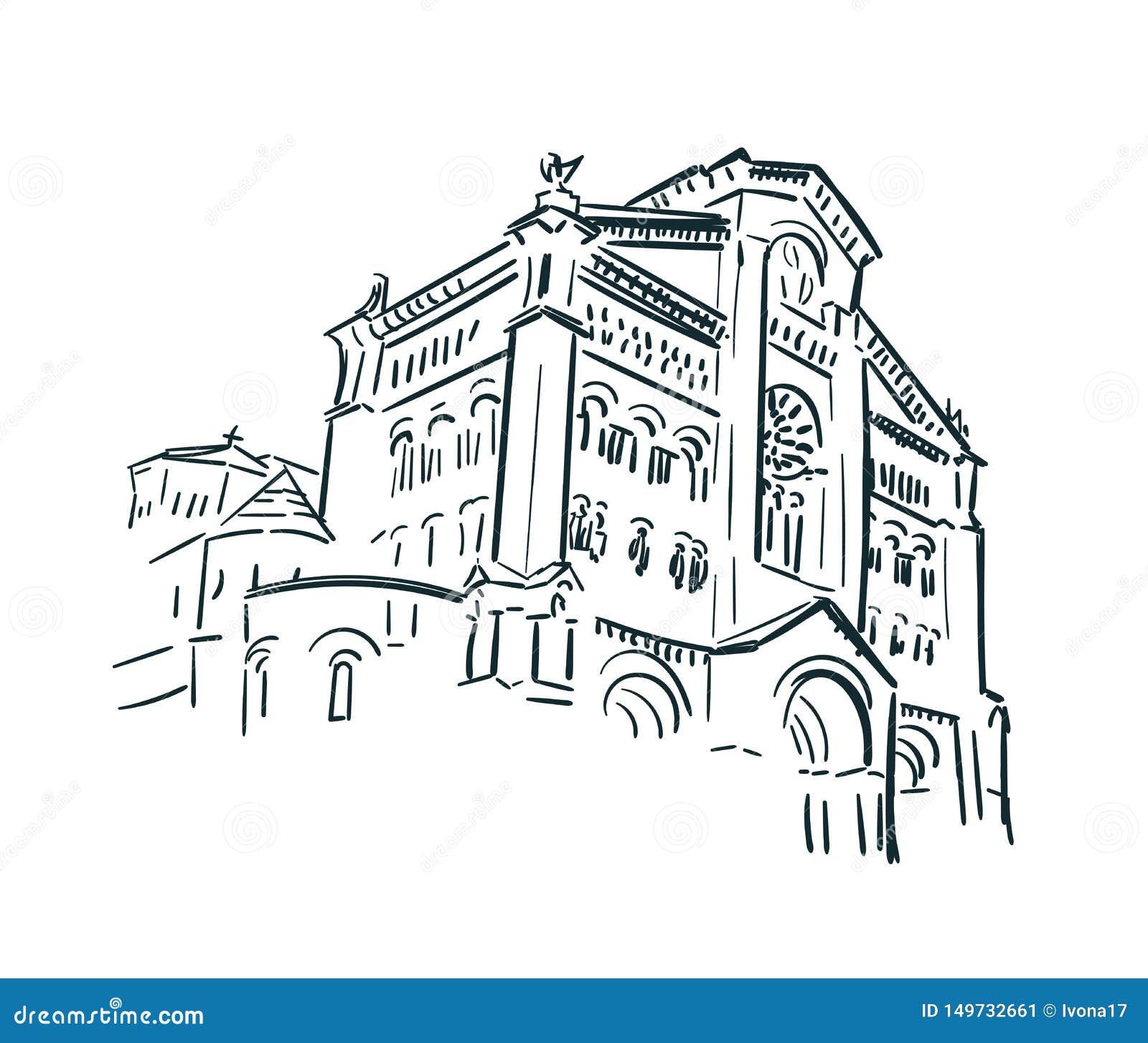 Van de de kerkschets van Monaco het art. van de de stadslijn