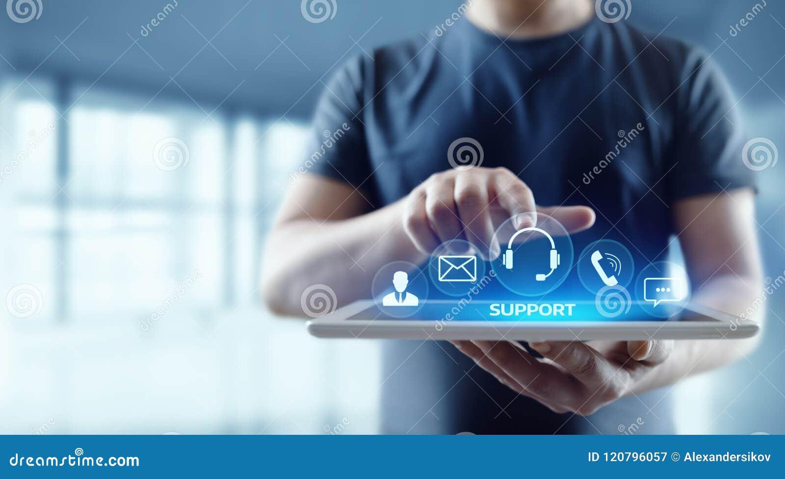 Van de de Klantendienst van het technische ondersteuningcentrum van Bedrijfs Internet Technologieconcept