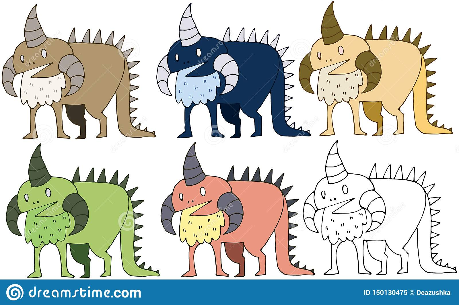 Van de de kleurenkrabbel van het drukbeeldverhaal de hand van de het monsterdinosaurus trekt grappige reeks