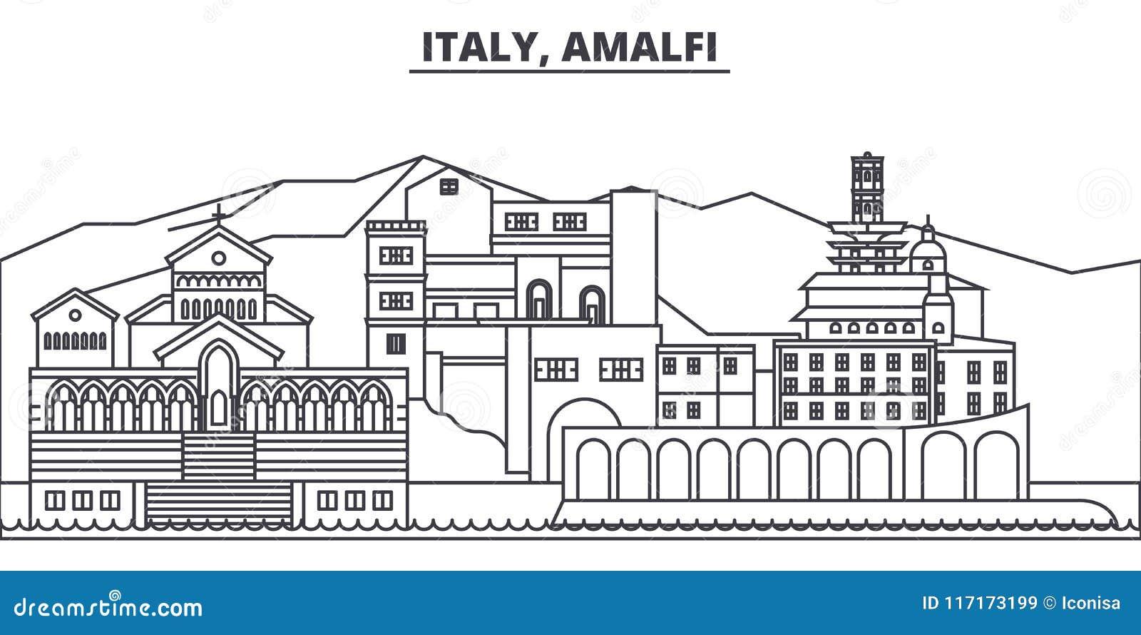 Van de de lijnhorizon van Italië, Amalfi de vectorillustratie Italië, Amalfi lineaire cityscape met beroemde oriëntatiepunten, st