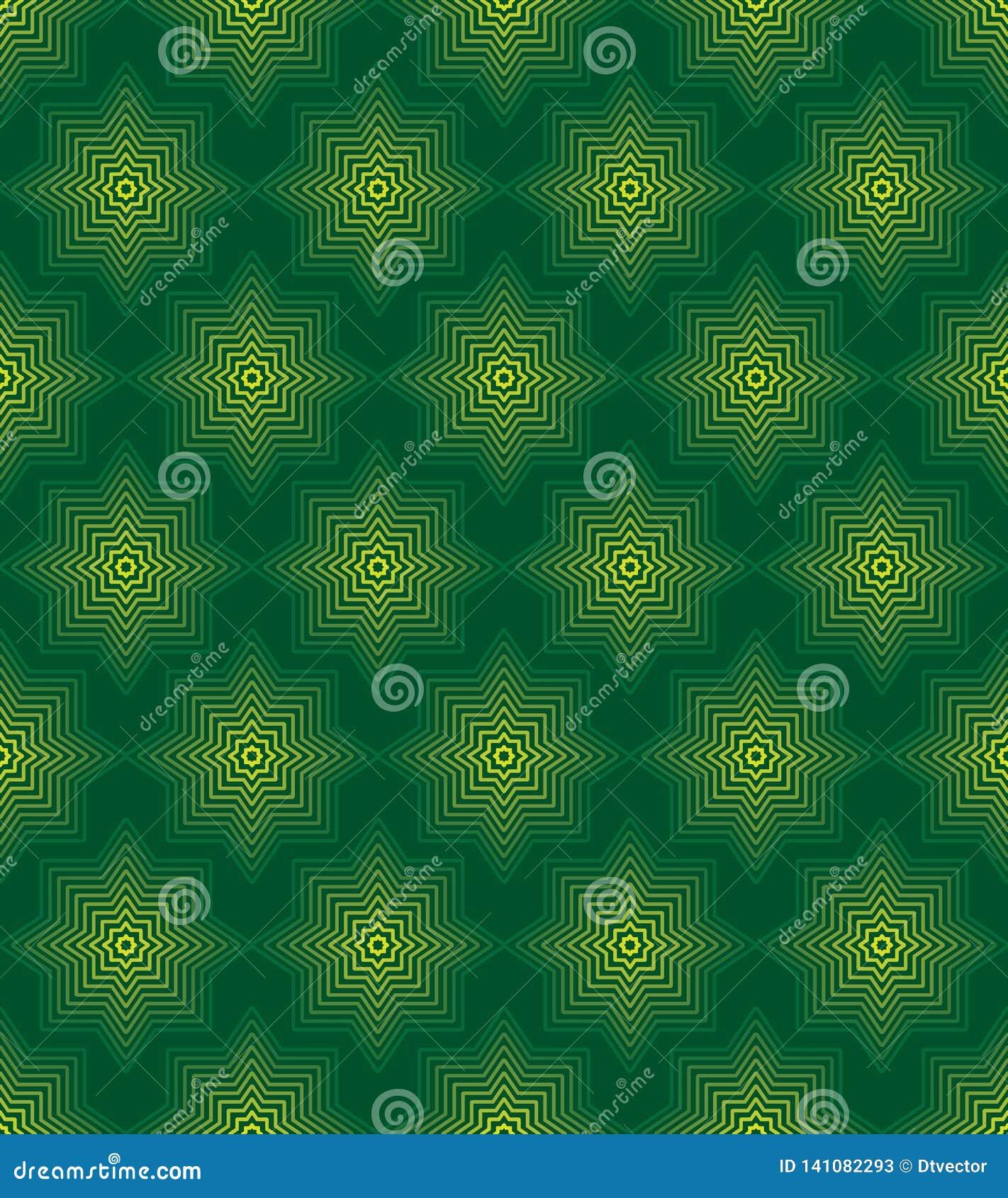 Van de de lijnkleur van de Ramadanvorm groen de symmetrie naadloos patroon