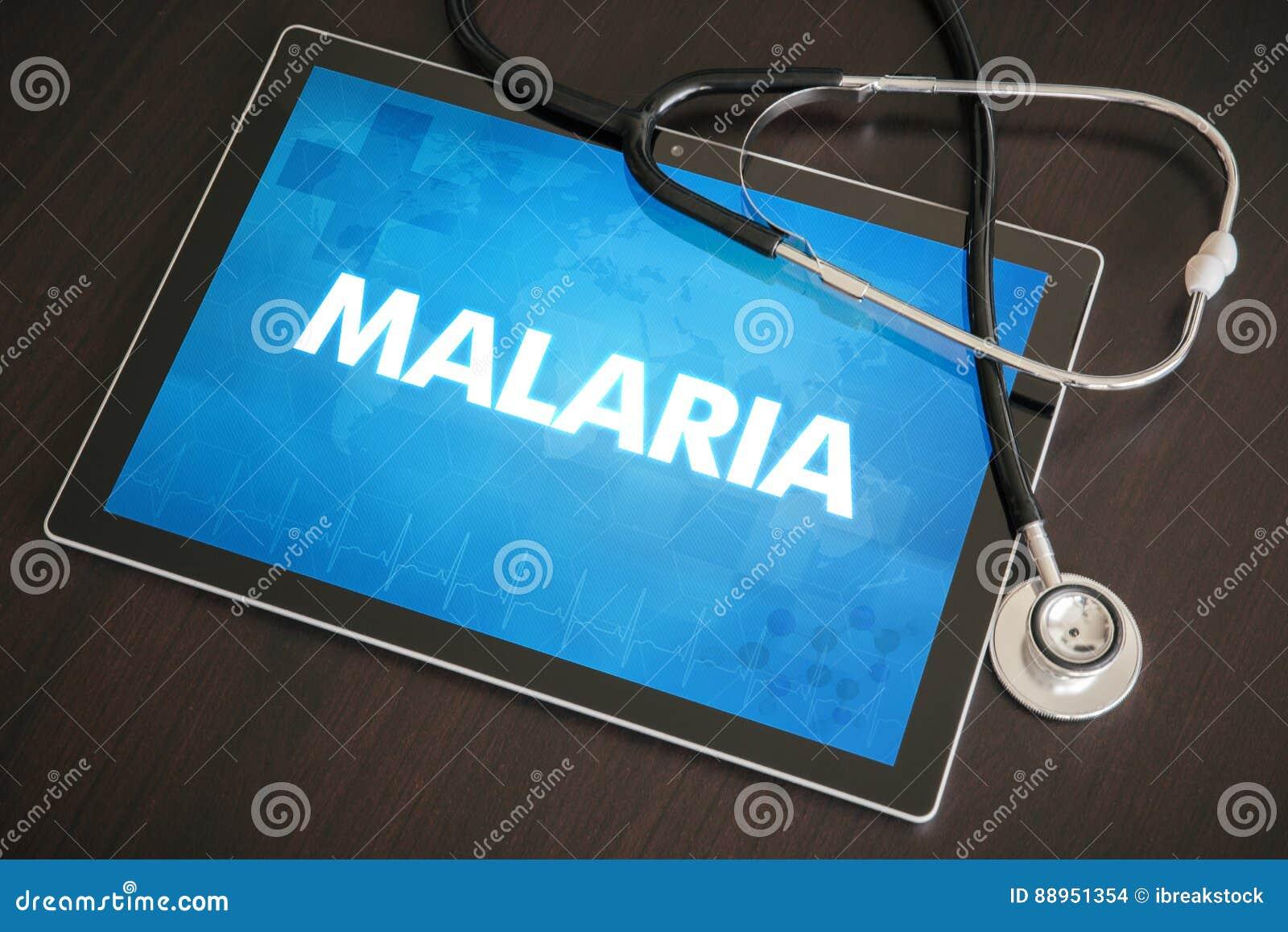 Van de malaria (infectieziekte) diagnose het medische concept op tablet