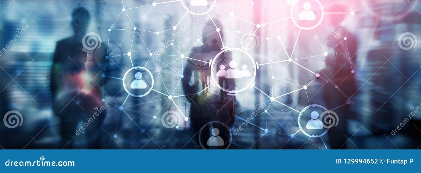 Van de mensenrelatie en organisatie structuur Sociale Media Bedrijfs en communicatietechnologieconcept