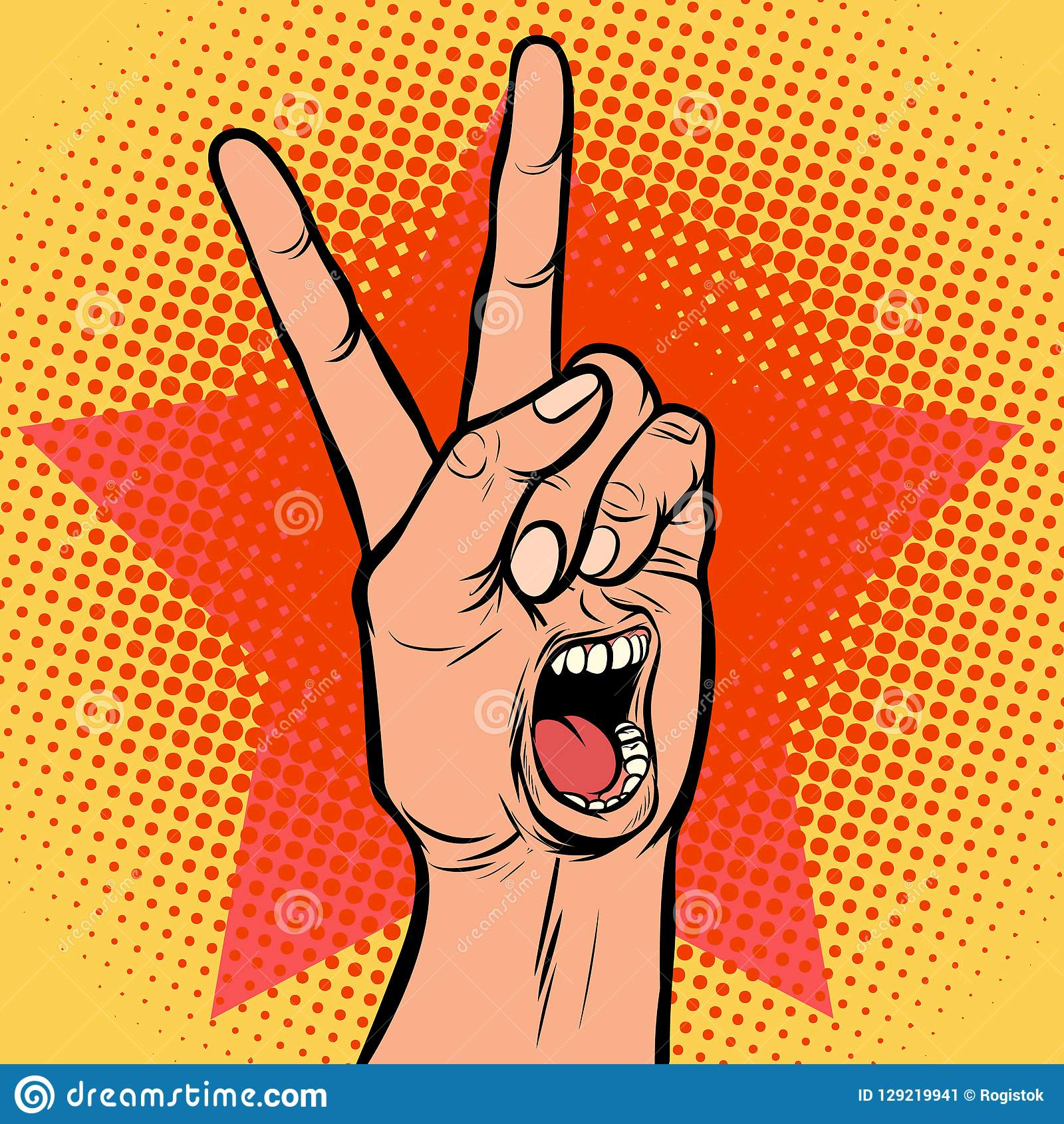 Van de de mondemotie van de schreeuwverrukking het gebaar van de de handoverwinning
