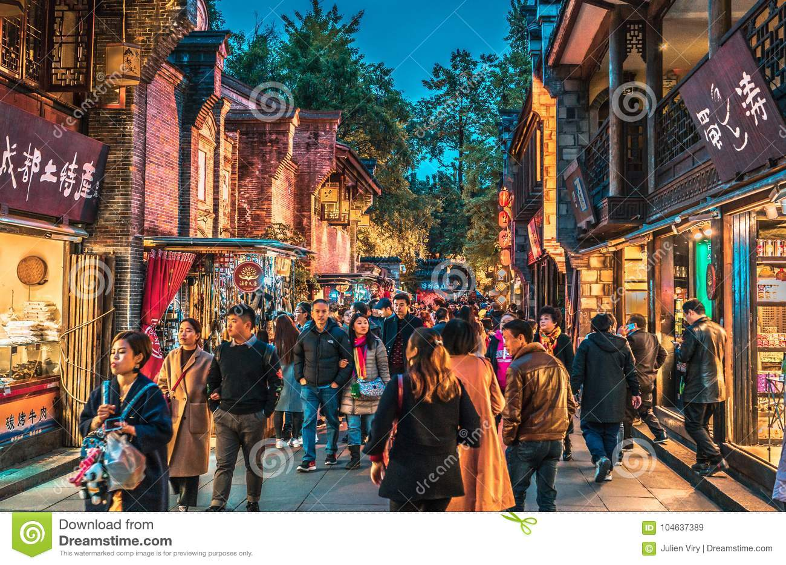 Download Van De De Nachtscène Van De Jinli Oude Stad De Straatmening In Chengdu Redactionele Stock Afbeelding - Afbeelding bestaande uit houten, mensen: 104637389