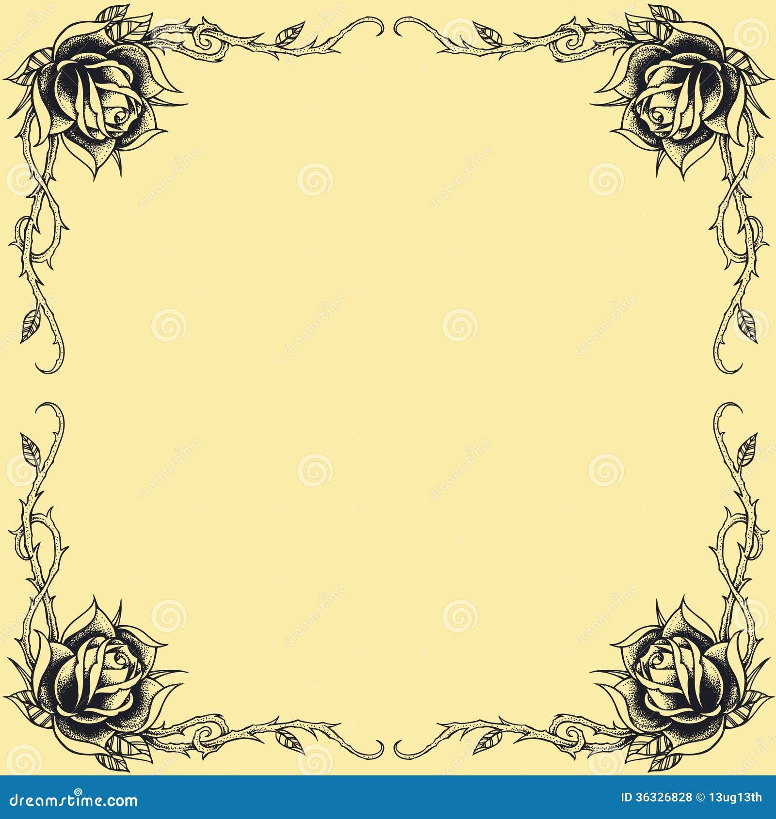 Van de oldskooltatoegering van het rozenkader van het de stijlontwerp reeks 01