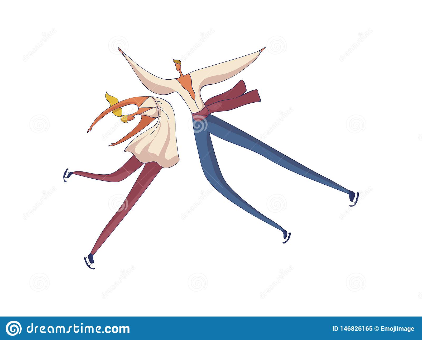 Van de paarman en vrouw cijferschaatsers die element uitvoeren Vector illustratie op witte achtergrond