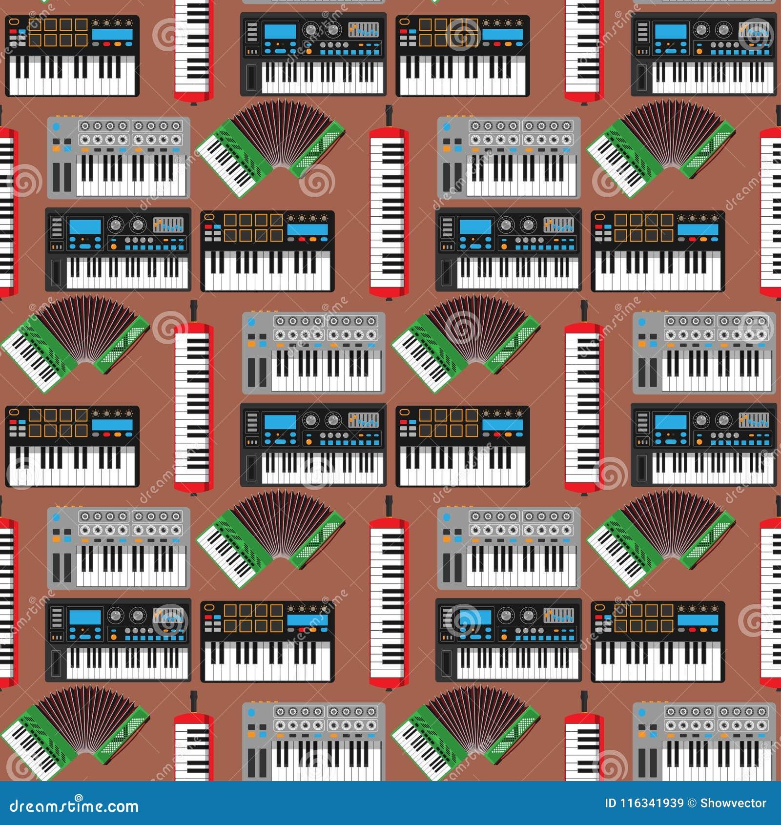 Van de de pianomelodie van toetsenbord muzikaal instrumenten vector klassiek van de de studio akoestisch glanzend musicus het mat