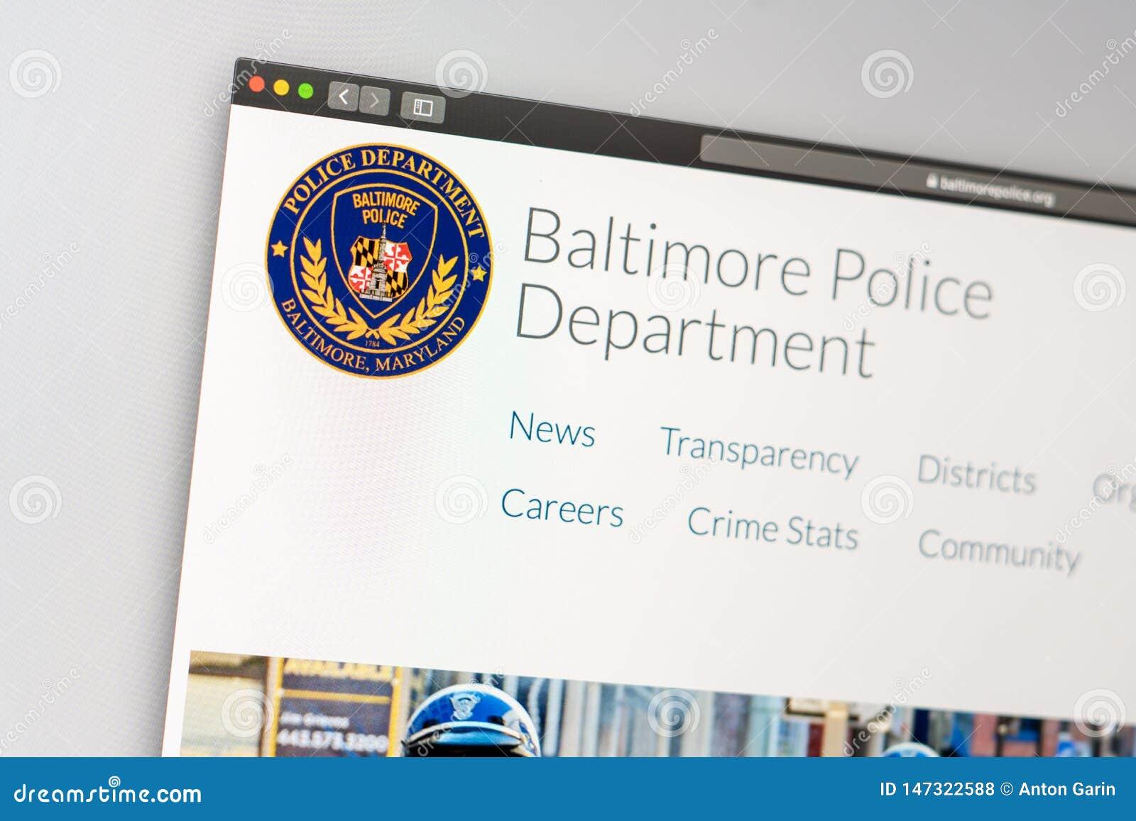 Van de de Politieafdeling van Baltimore de websitehomepage Sluit omhoog van Politieafd. embleem