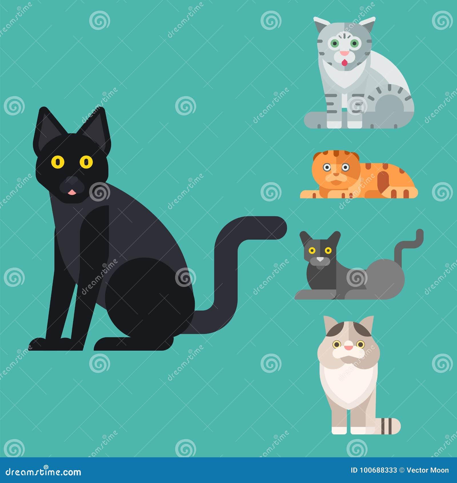 Van de potkarakters van de katten vectorillustratie leuk dierlijk grappig decoratief katachtig binnenlands getrokken het katjes i