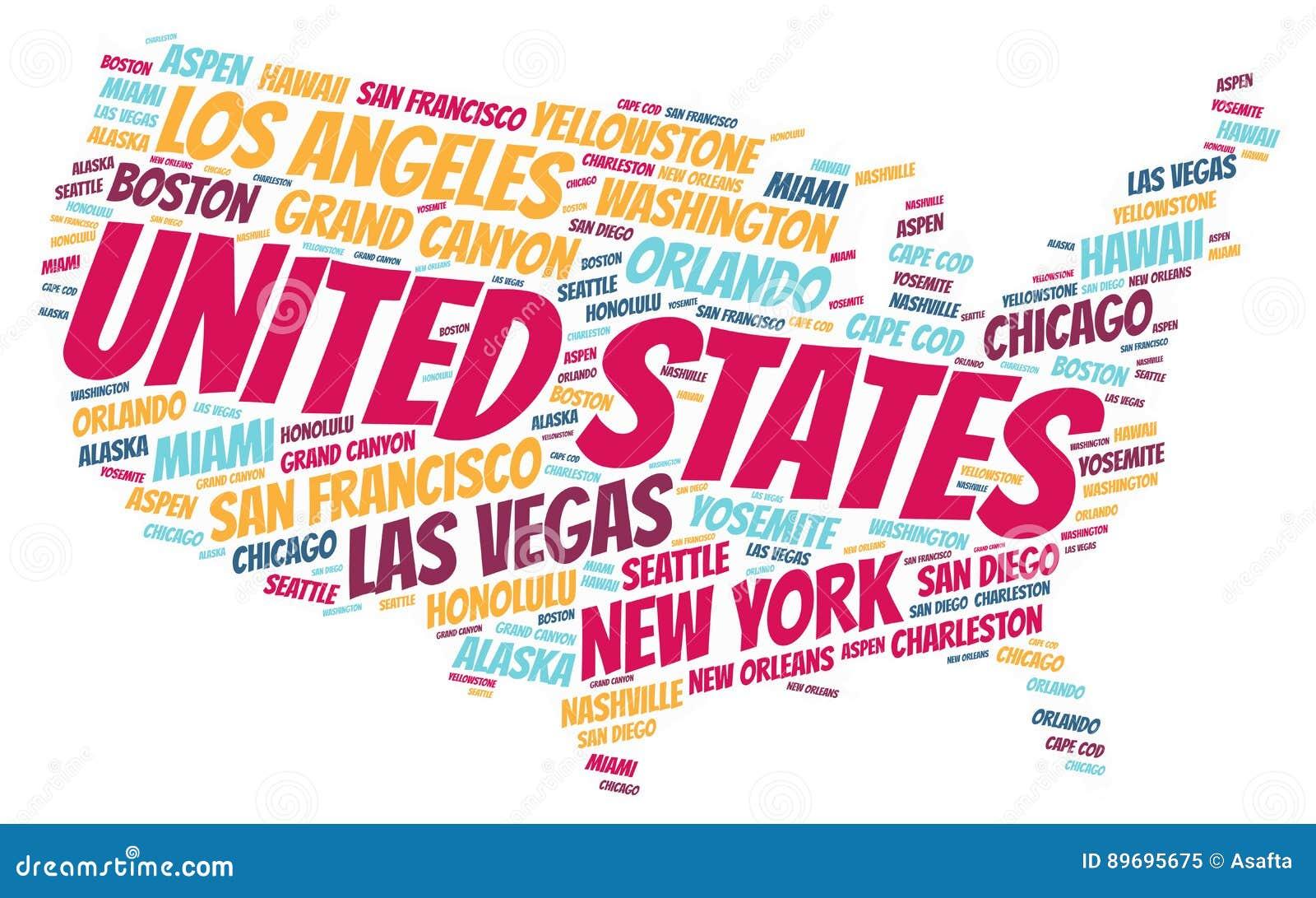 Van de reisbestemmingen van Verenigde Staten hoogste het woordwolk
