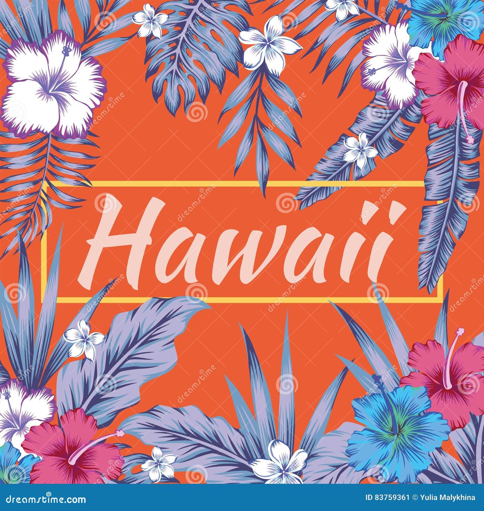 Van de slogan tropische bladeren van Hawaï de hibiscus oranje achtergrond