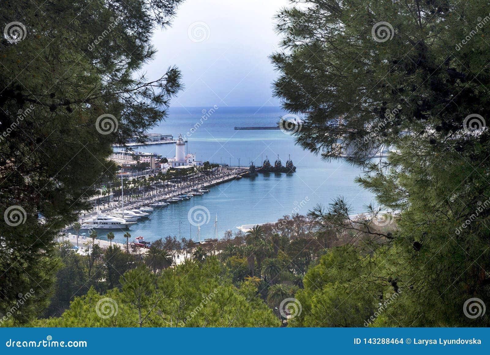 Van de Spaanse stad van Malaga Haven, golf, schepen Een blik op de haven door naaldboom