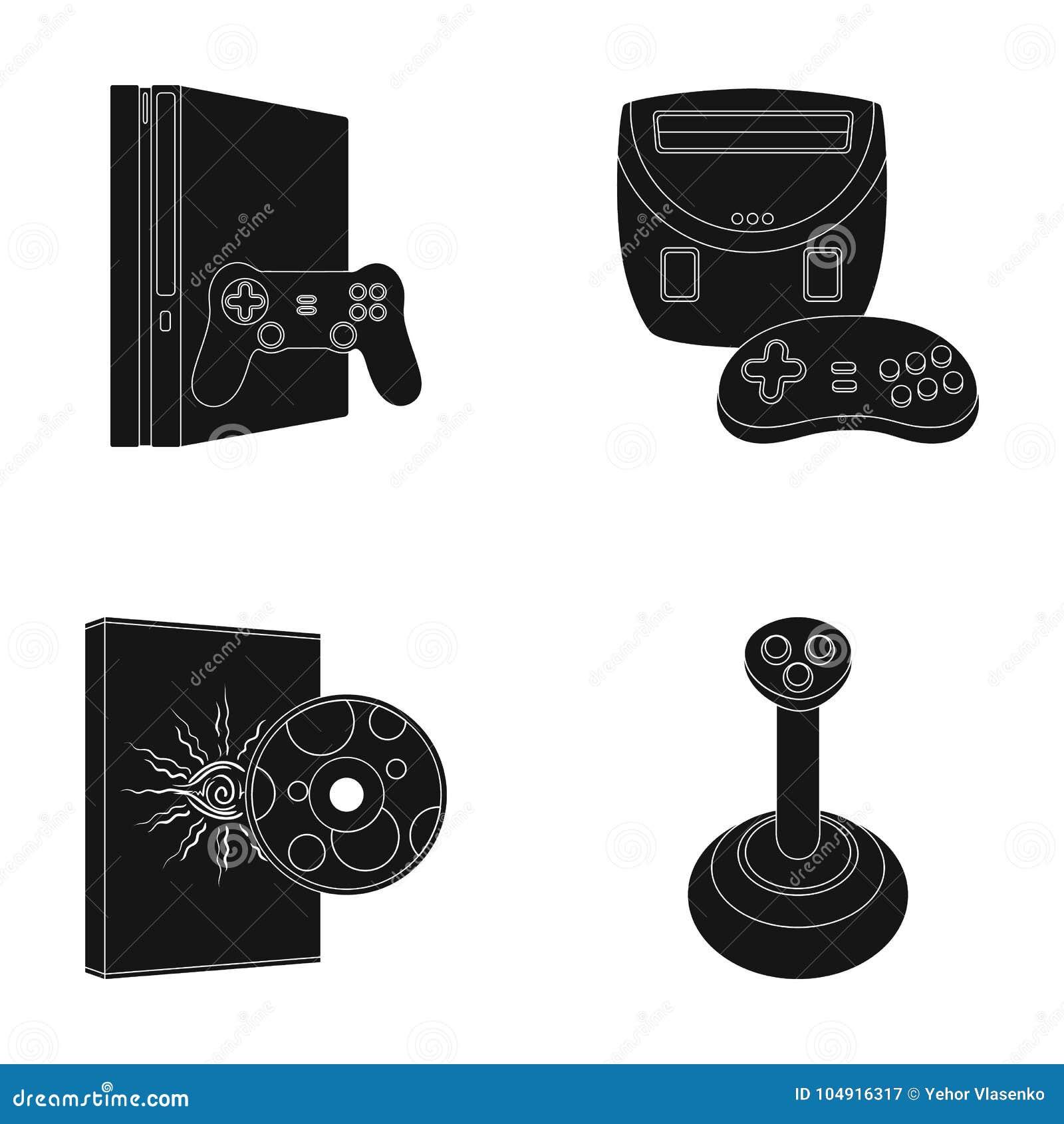 Van de van de spelconsole, bedieningshendel en schijf zwarte pictogrammen in vastgestelde inzameling voor ontwerp Web van de het