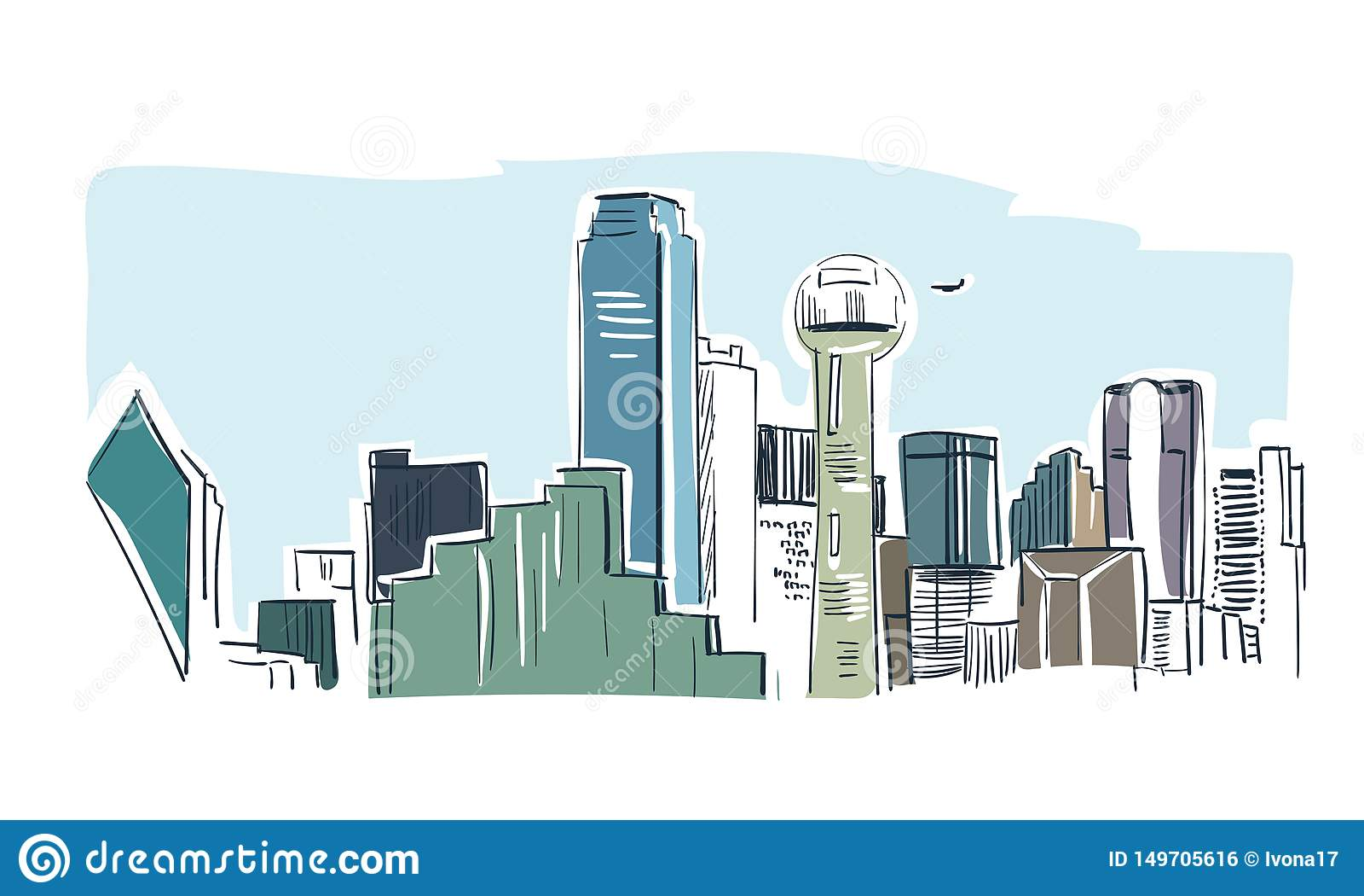 Van de de stads vectorschets van Dallas van de het landschapslijn de illustratiehorizon