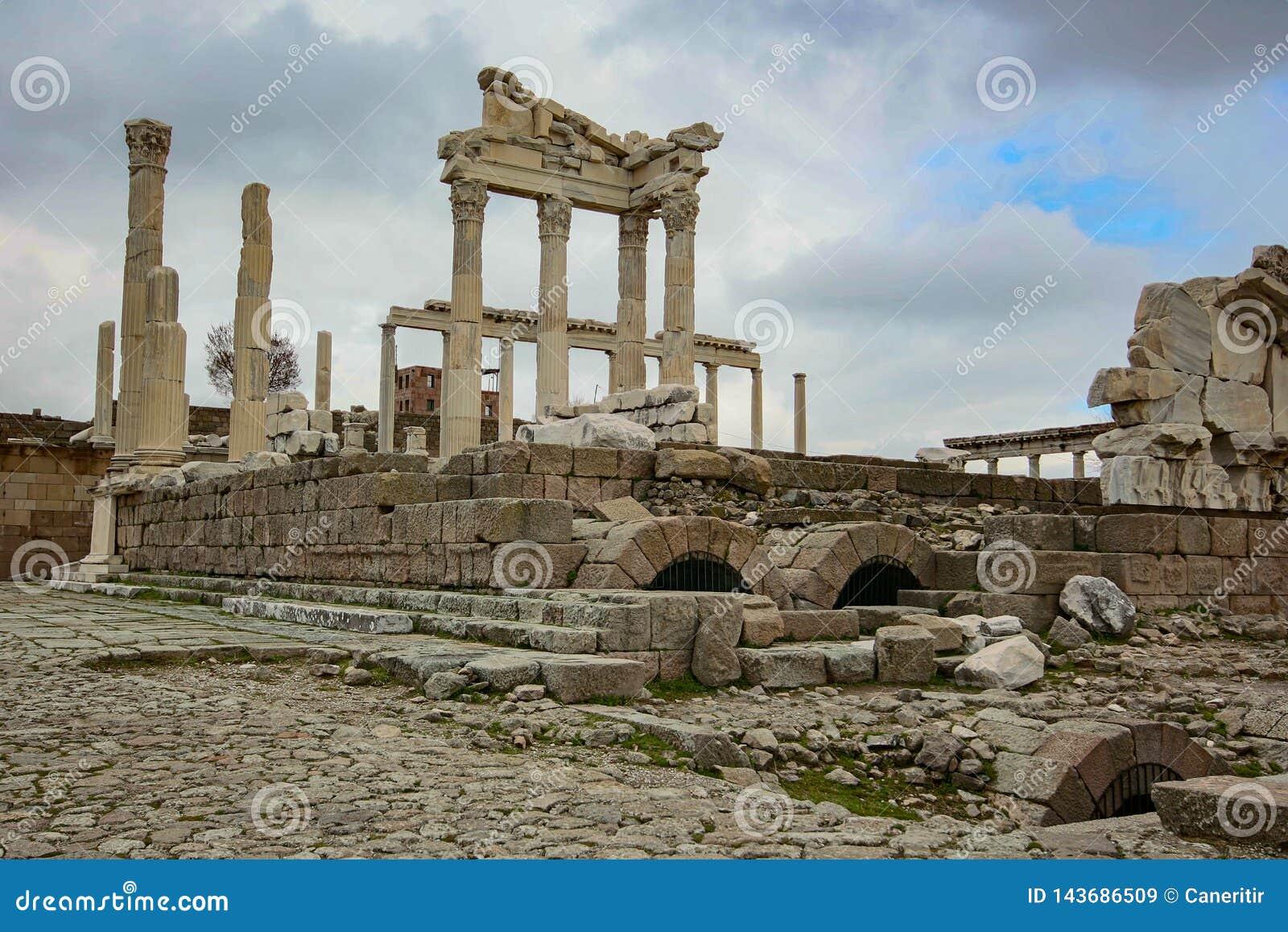 Van de de Stadsakropolis van Pergamon Acient Historische het Kasteelkolom