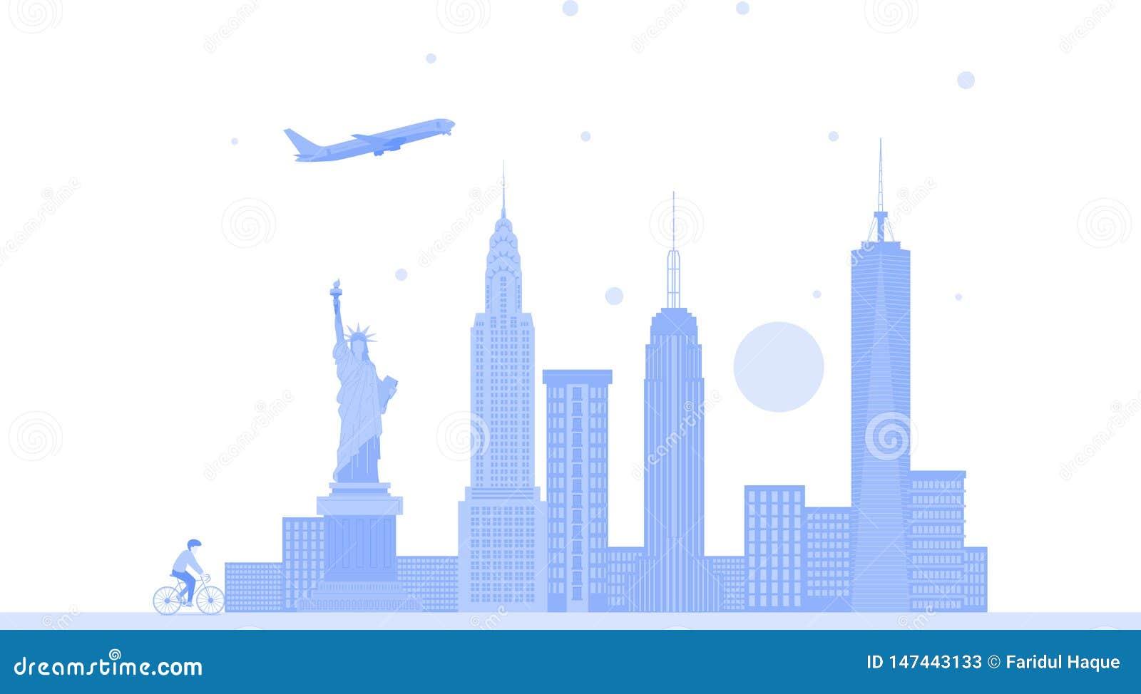 Van de de stadshorizon van New York Verenigde Staten de vectorachtergrond Vlakke in illustratie