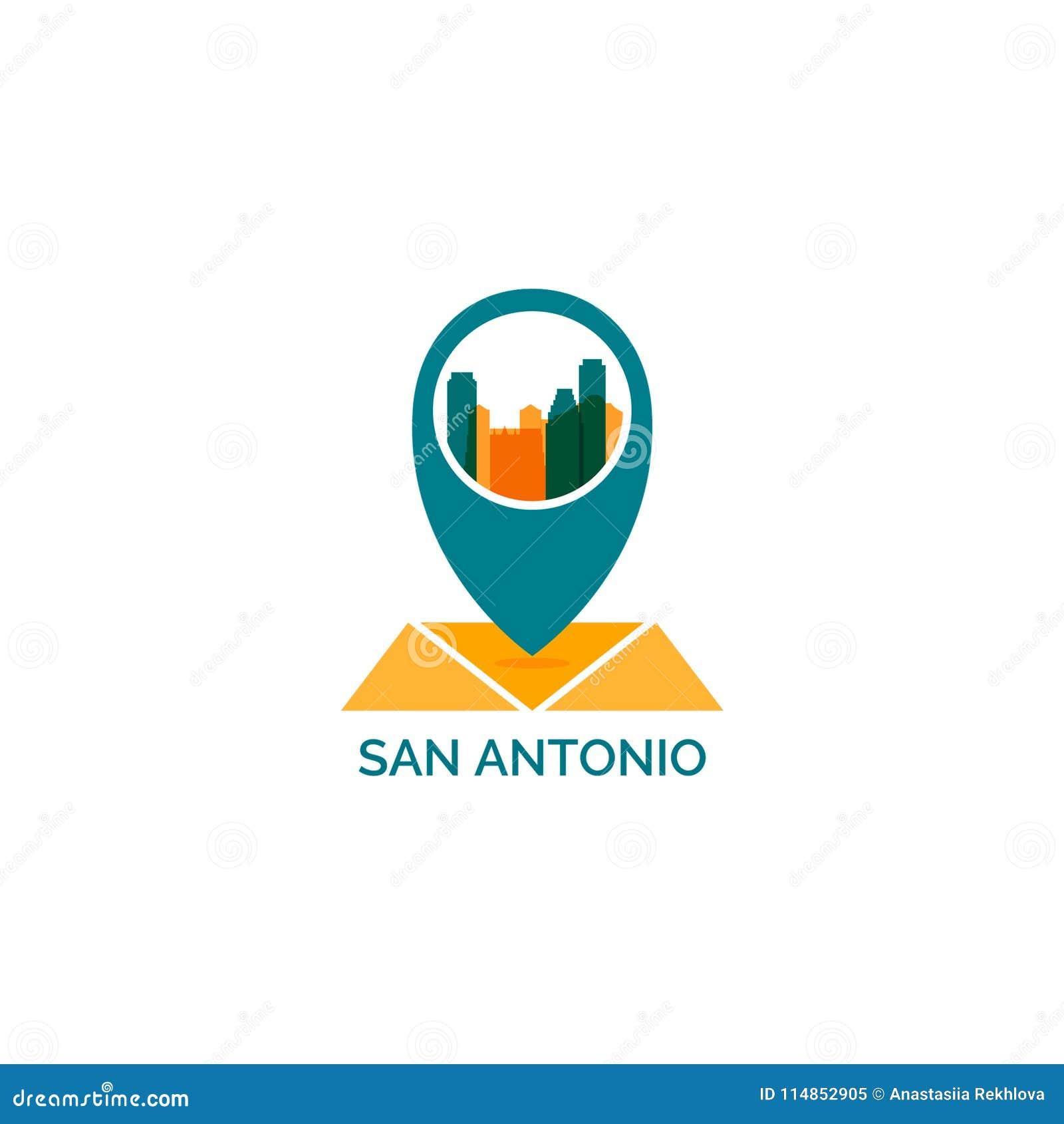 Van de de stadshorizon van San Antonio illustratie van het het silhouet de vectorembleem