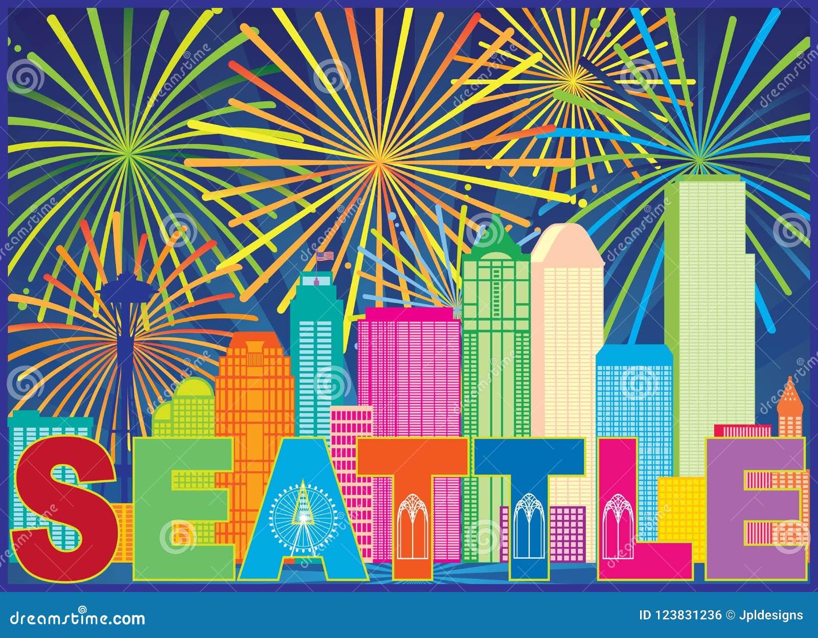Van de de Stadshorizon van Seattle het de Tekstvuurwerk kleurt vectorillustratie