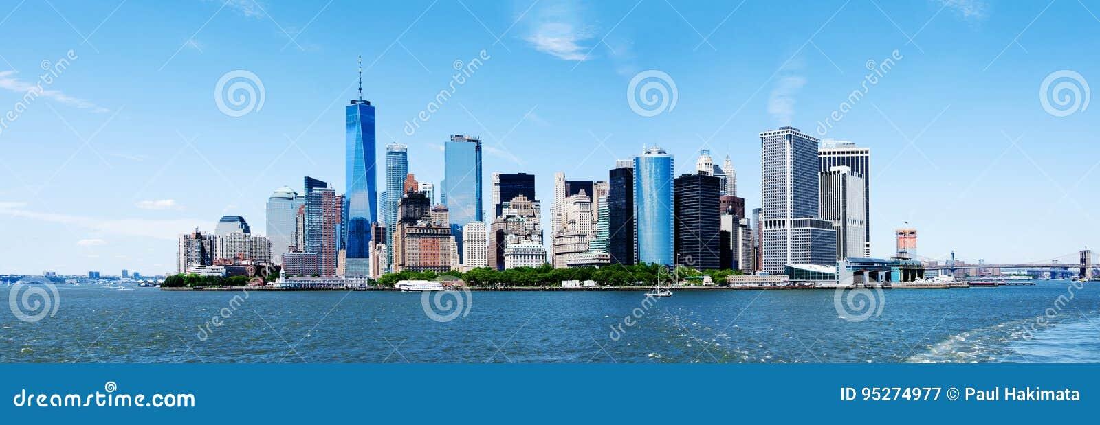 Van de Stadsmanhattan van panoramanew york de Horizon en Freedom Tower