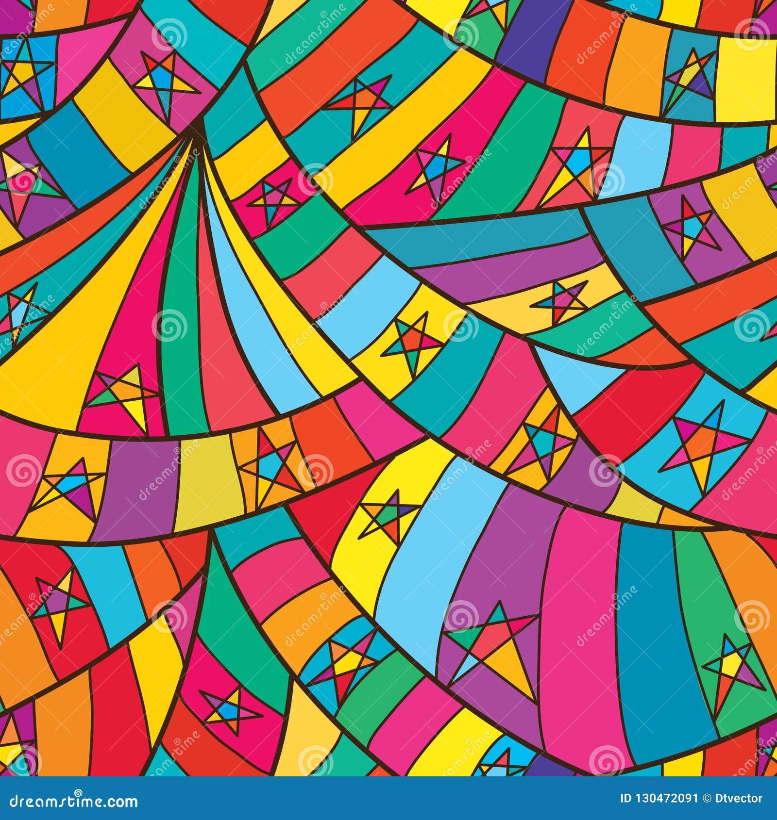 Van de de ster het volledige pagina van de lijnkrul naadloze patroon