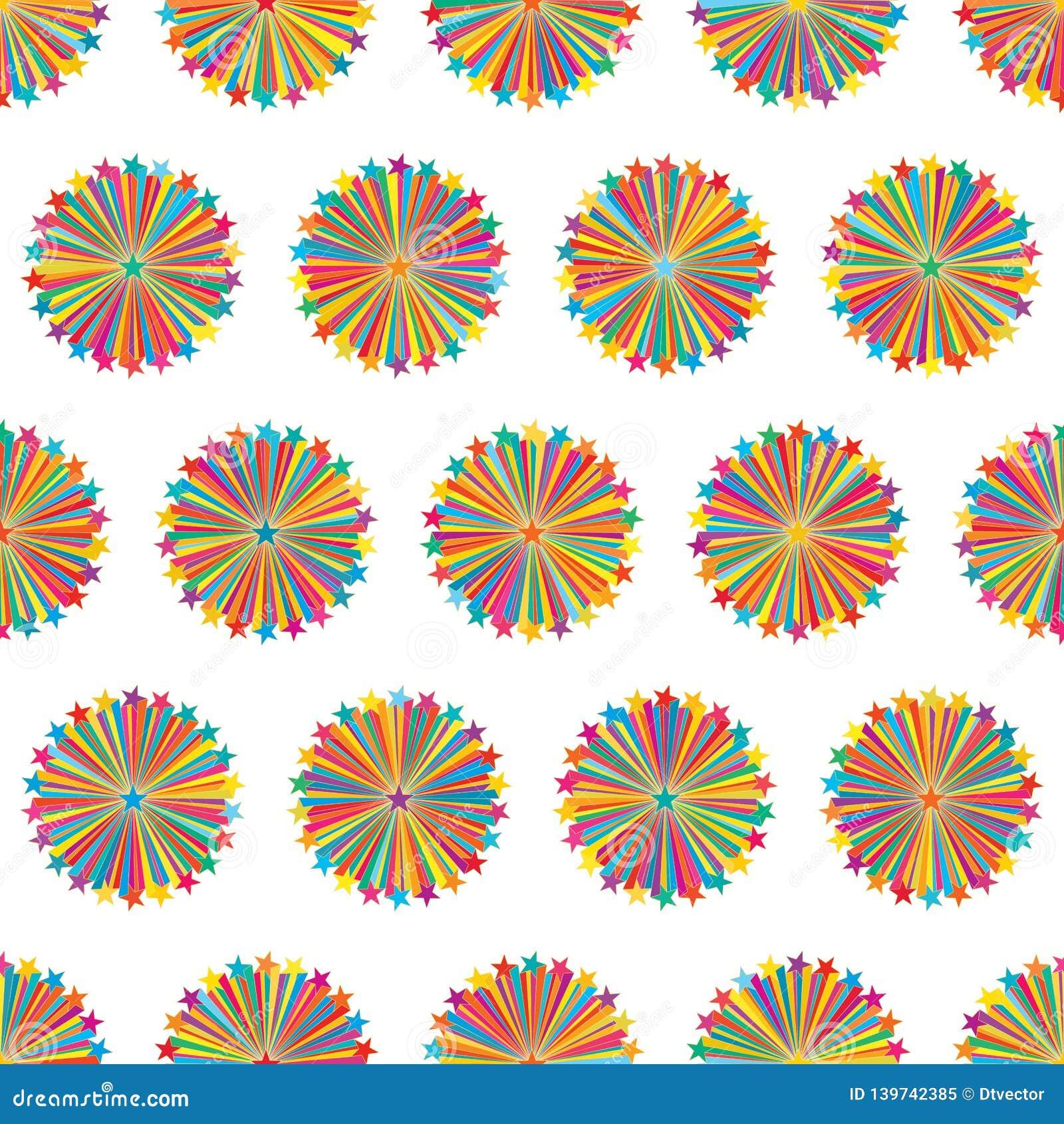 Van de de straal het kleurrijke symmetrie van de sterlijn naadloze patroon