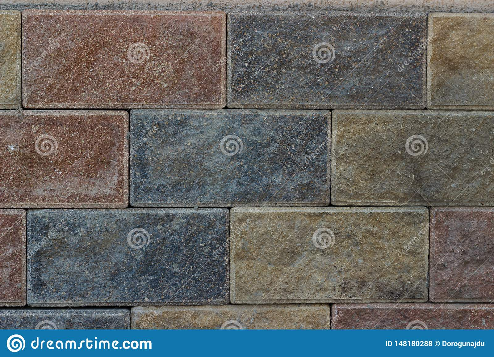 Van de textuur multicolored bakstenen van de steenmuur frontale zolder als achtergrond