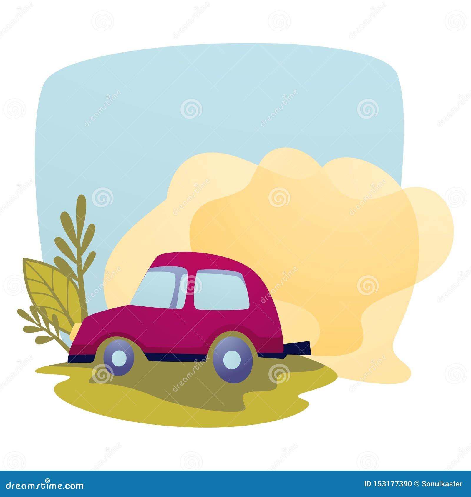 Van de de uitlaatverontreiniging en emissie van de luchtvervuilingsauto ecologie
