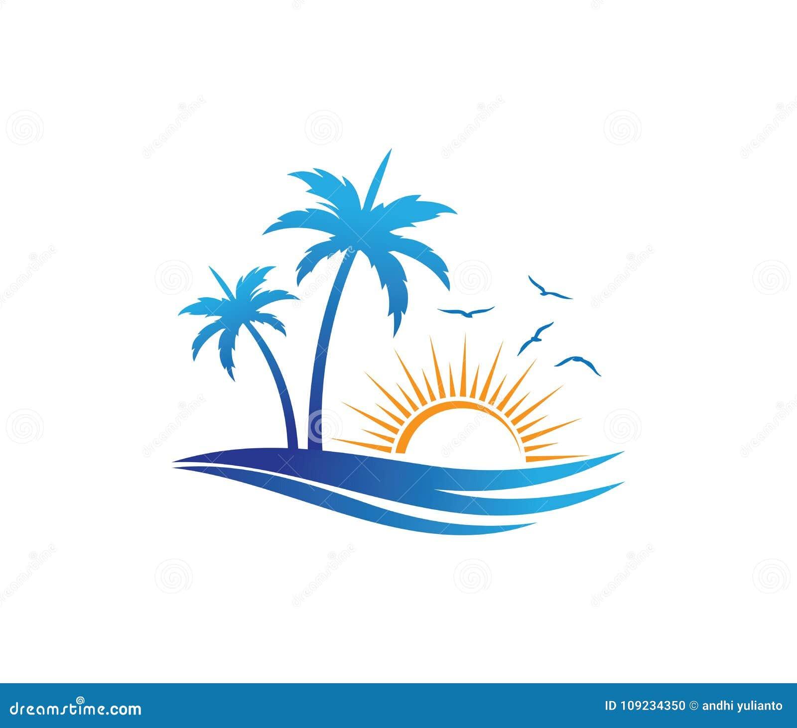 Van de de vakantiezomer van het hoteltoerisme van de het strandkokosnoot ontwerp van het de palm het vectorembleem