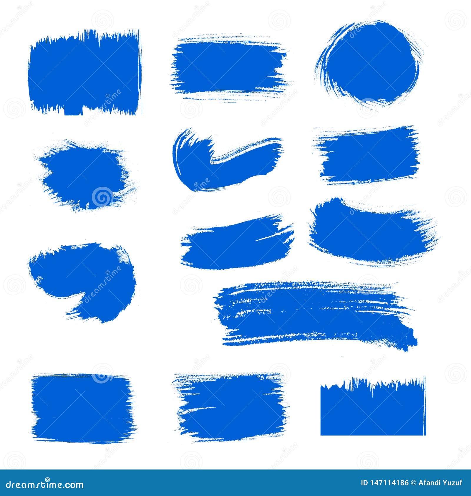 Van de de verfkwaststreek van de inzamelings roepen de vector blauwe inkt vastgestelde Hand getrokken grunge decoratieve kwaststr