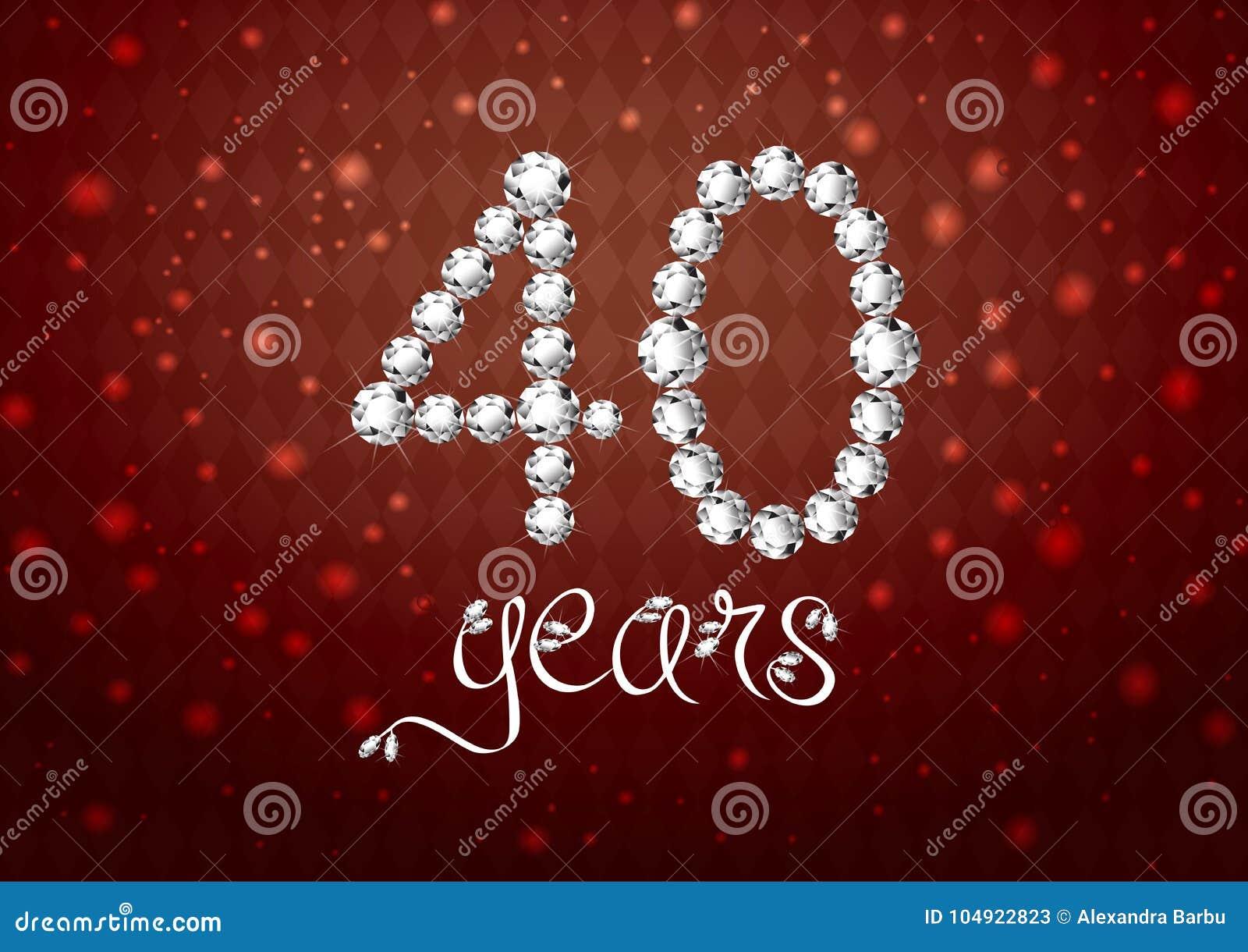 Van de de verjaardags rode kaart van de de 40ste jaren het gelukkige verjaardag aantal van de uitnodigings witte diamanten