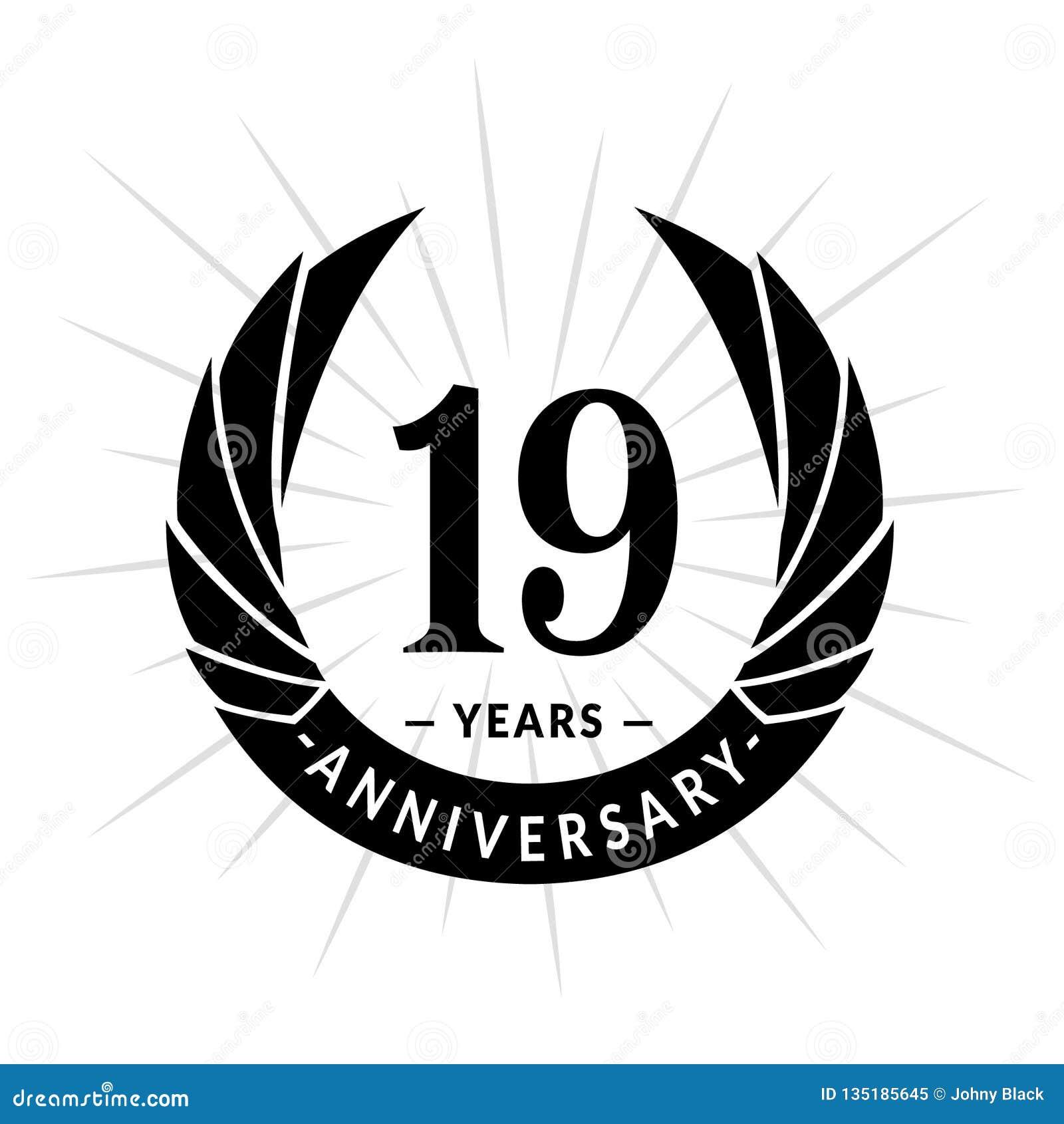 19 van de verjaardagsjaar ontwerpsjabloon Het elegante ontwerp van het verjaardagsembleem Negentien jaar embleem