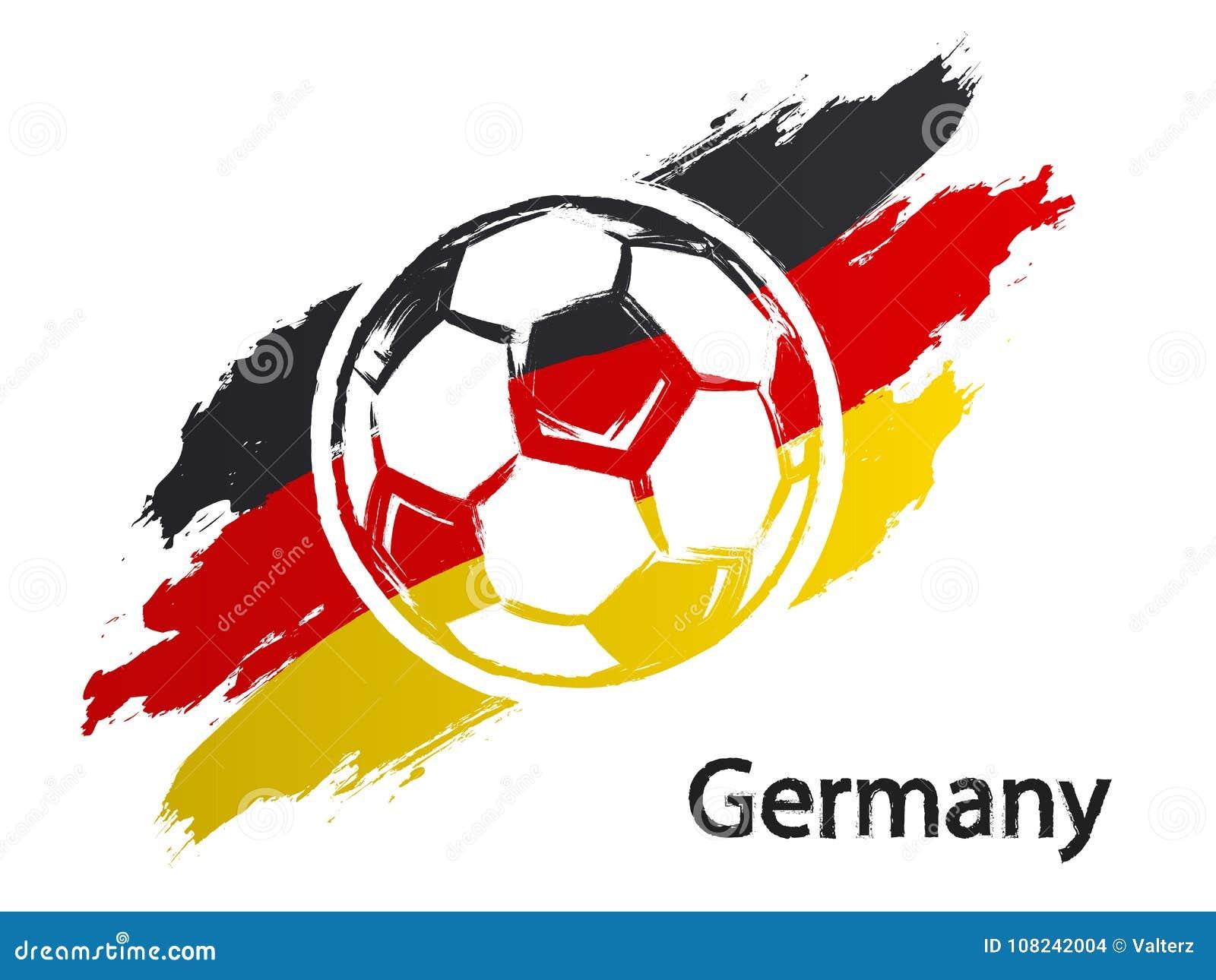 Van de de vlag grunge stijl van Duitsland van het voetbalpictogram de vectordieillustratie op wit wordt geïsoleerd