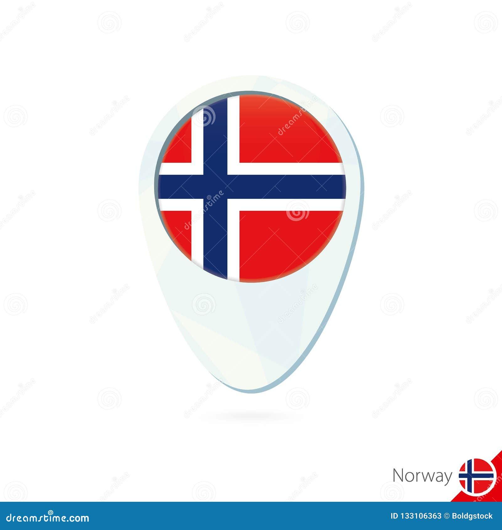 Van de de vlagplaats van Noorwegen het pictogram van de de kaartspeld op witte achtergrond